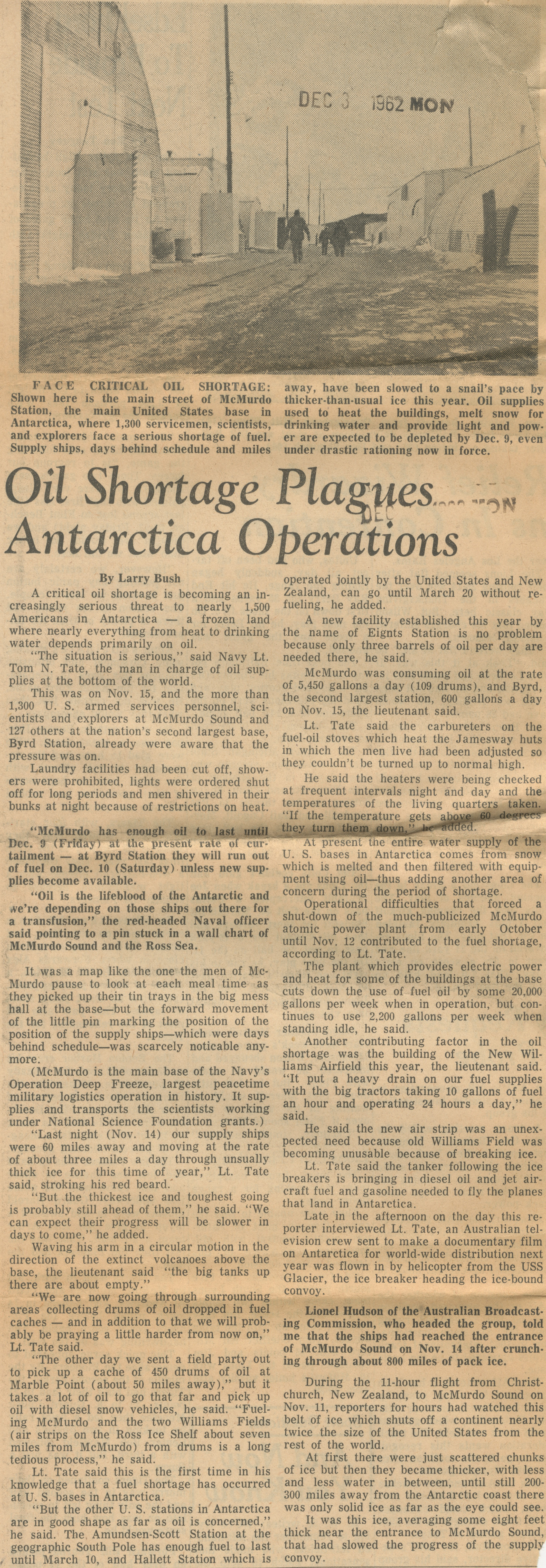 Oil Shortage Plagues Antarctica Operations image