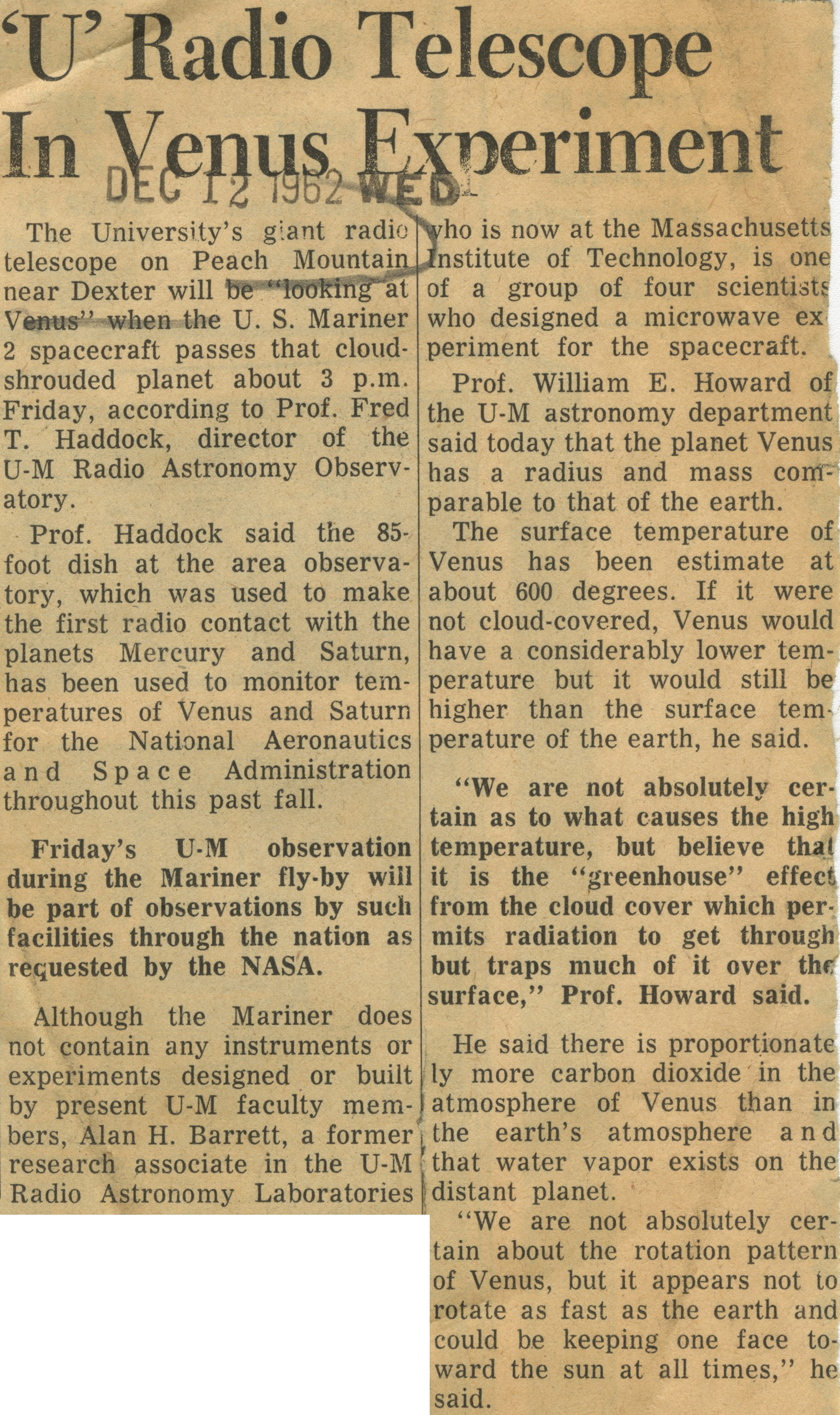 'U' Radio Telescope In Venus Experiment image