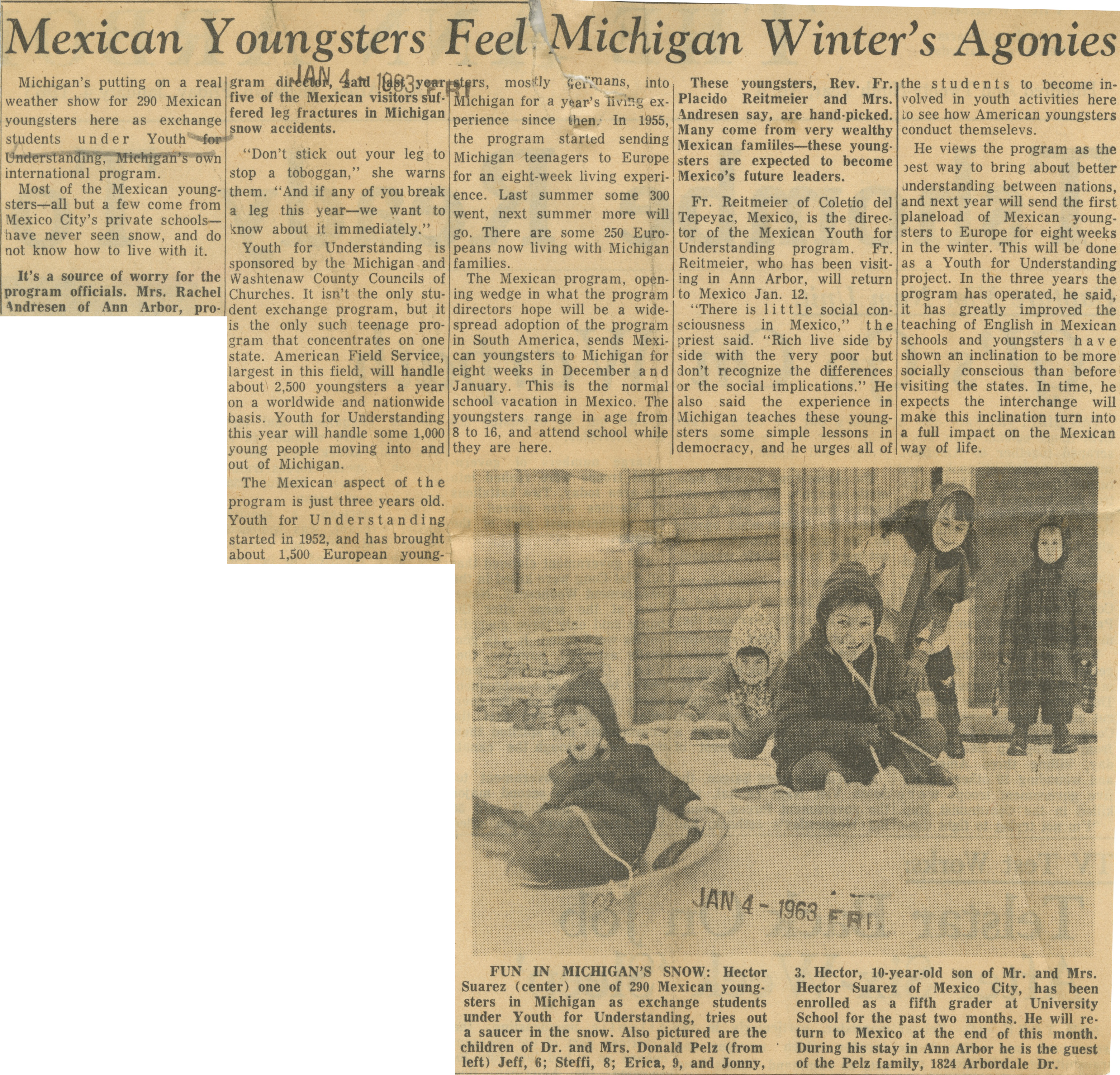 Mexican Youngsters Feel Michigan Winter's Agonies image