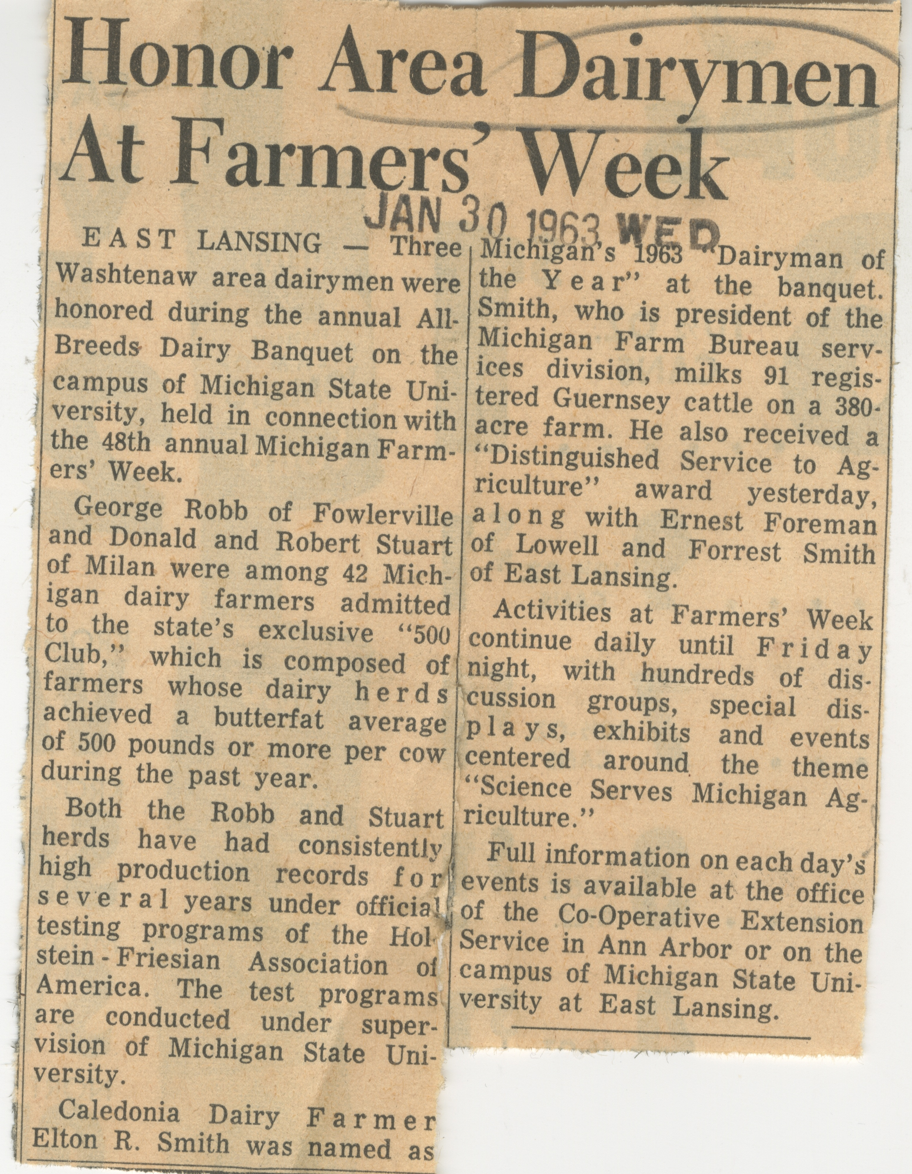 Honor Area Dairymen At Farmer's Week image