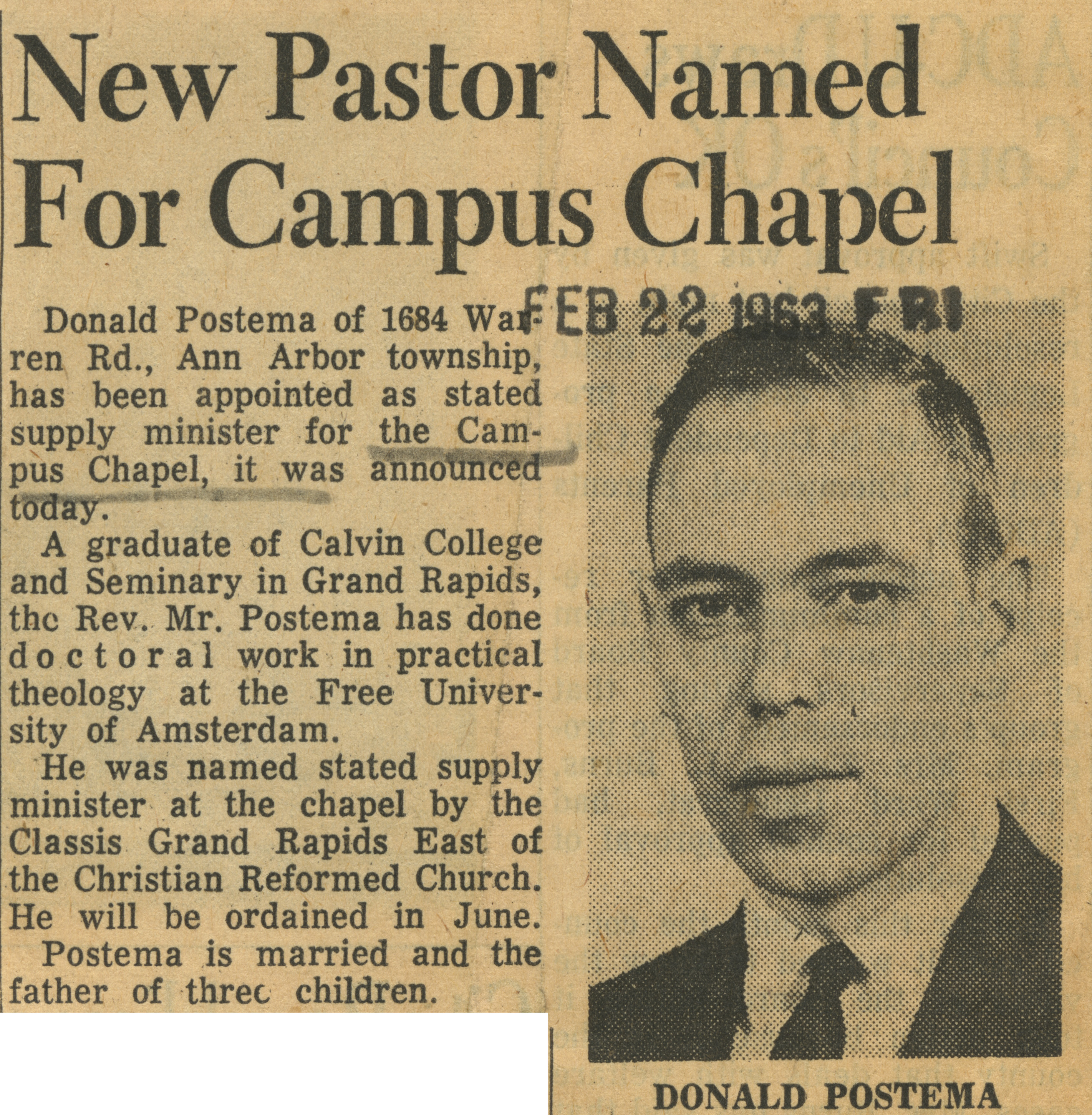 New Pastor Named For Campus Chapel image
