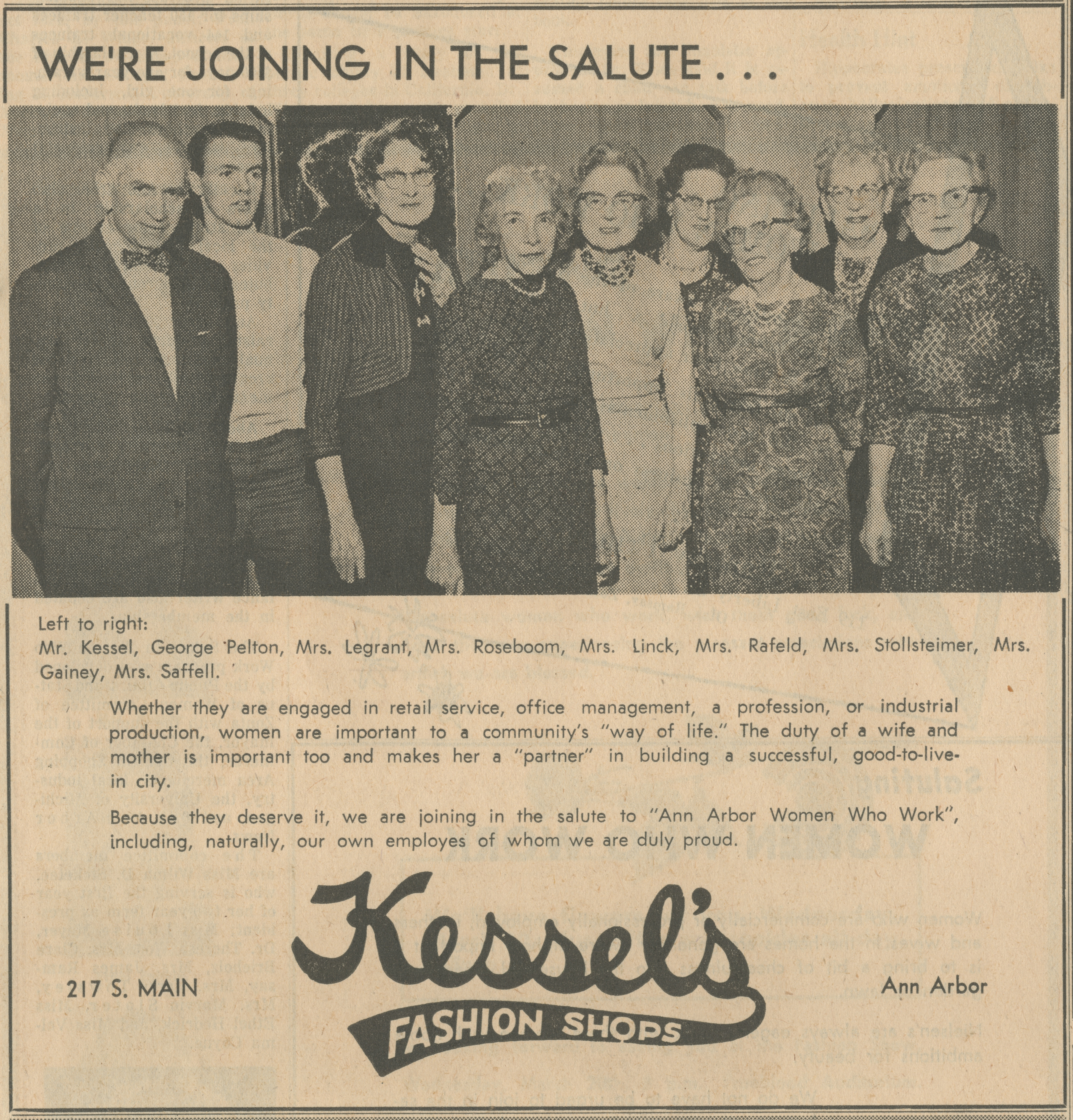 Kessel's Fashion Shops [advertisement] image
