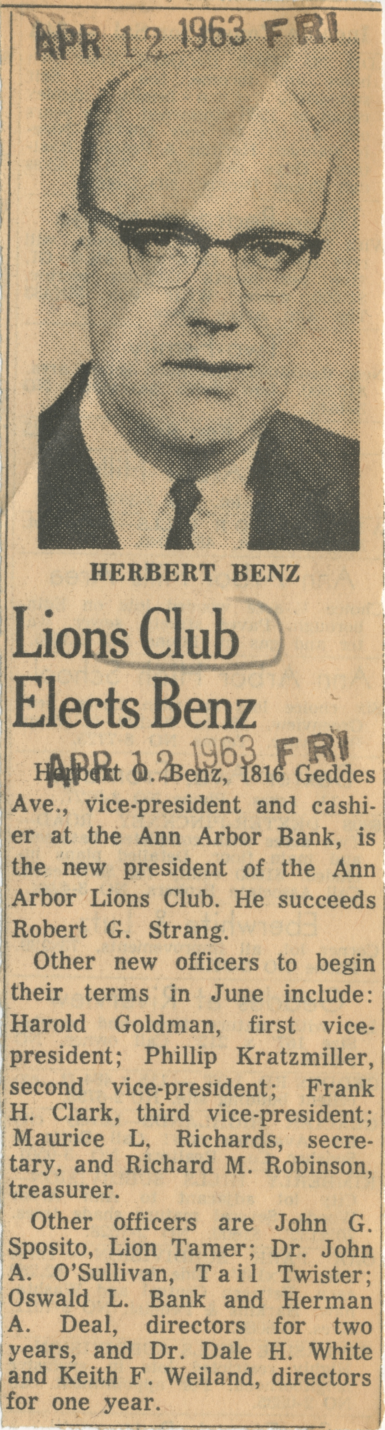 Lions Club Elects Benz image