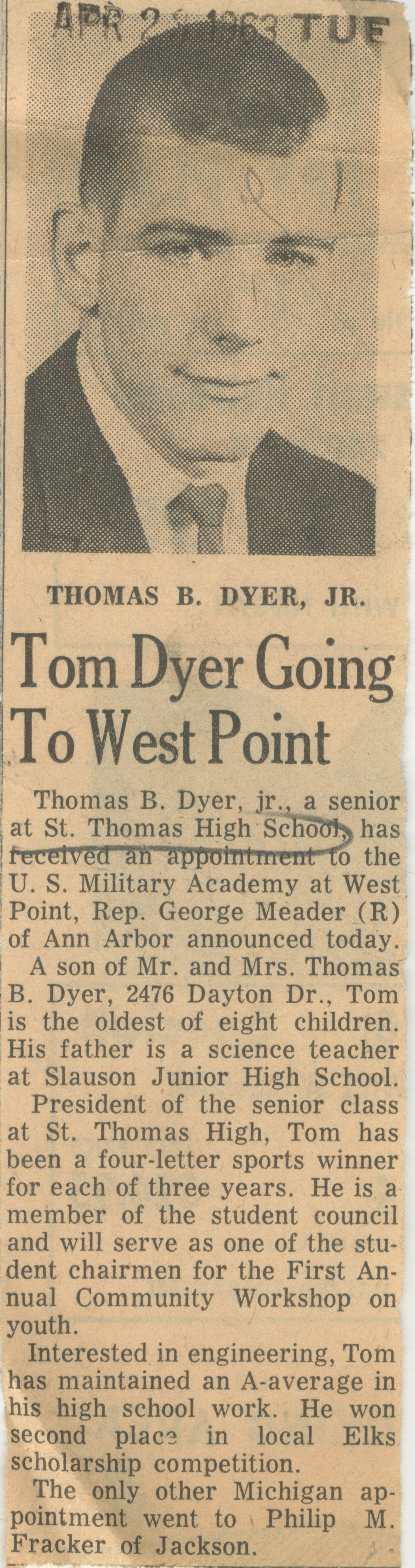 Tom Dyer Going To West Point image