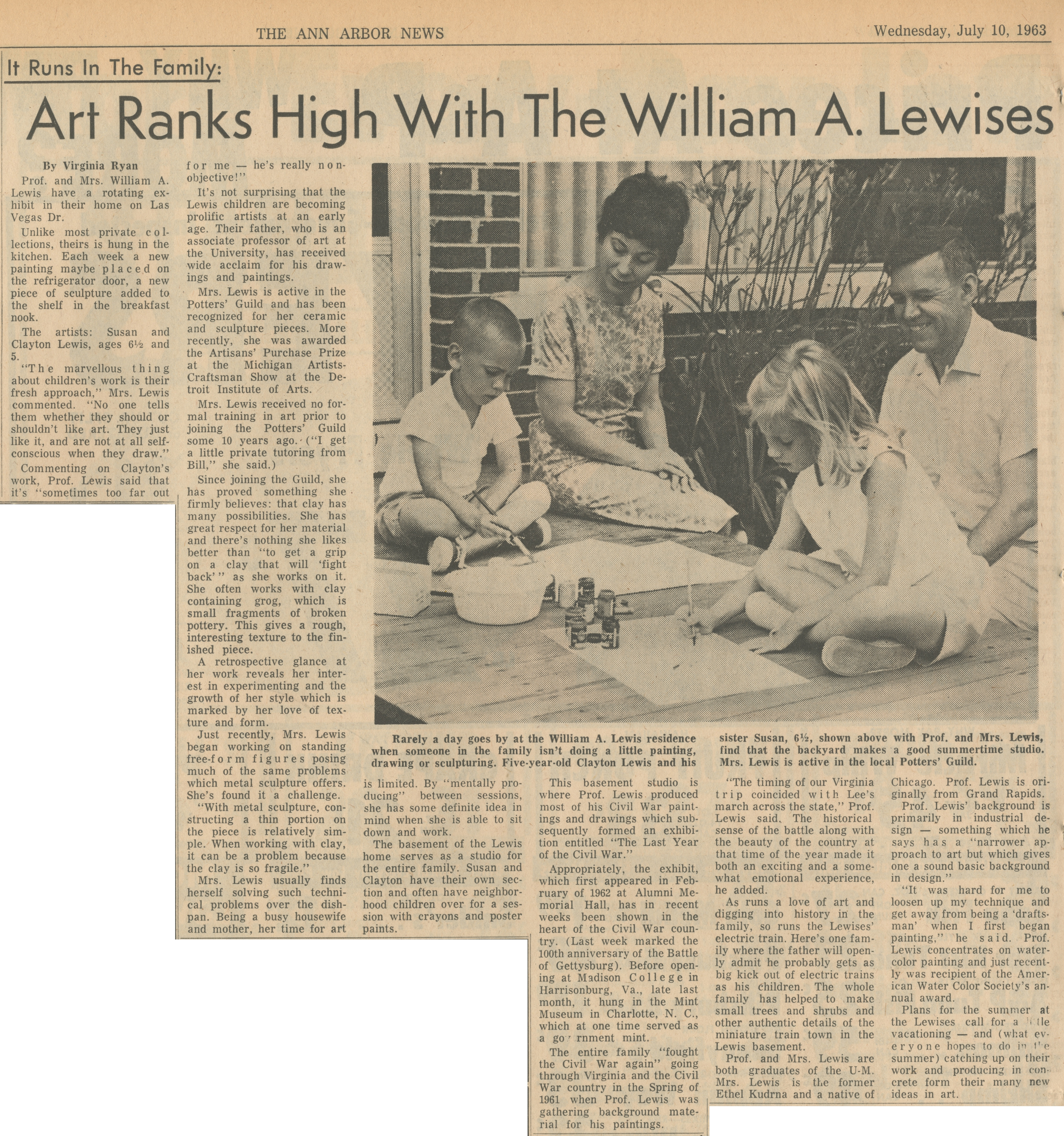 Art Ranks High With The William A. Lewises image