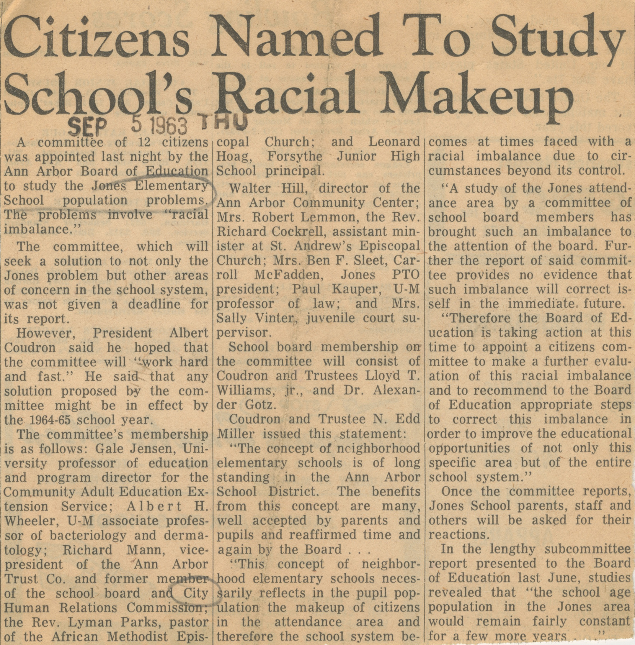 Citizens Named To Study School's Racial Makeup image