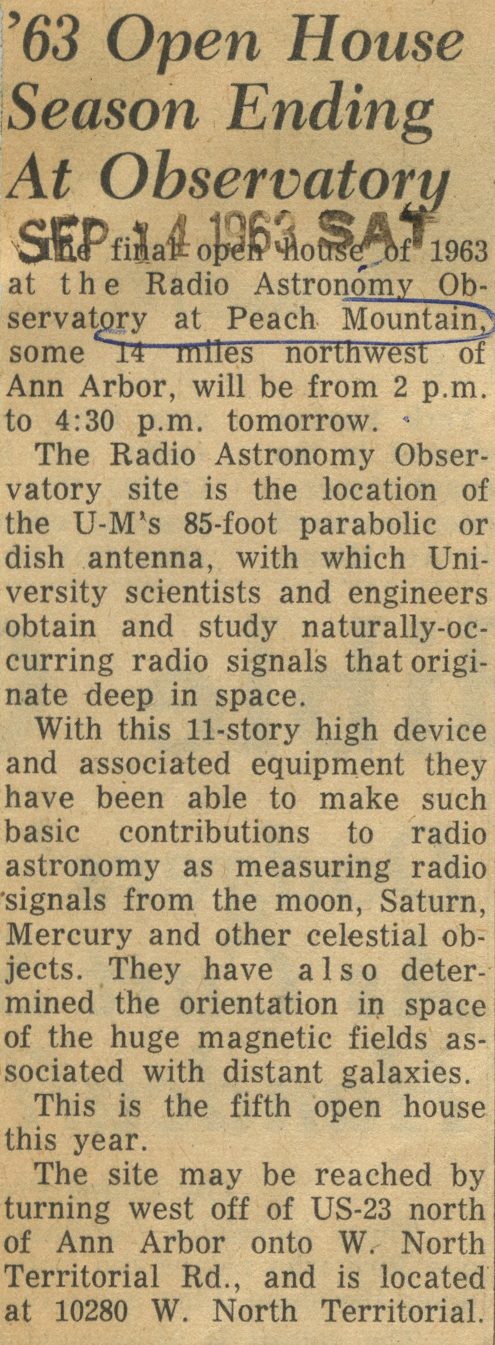 '63 Open House Season Ending At Observatory image