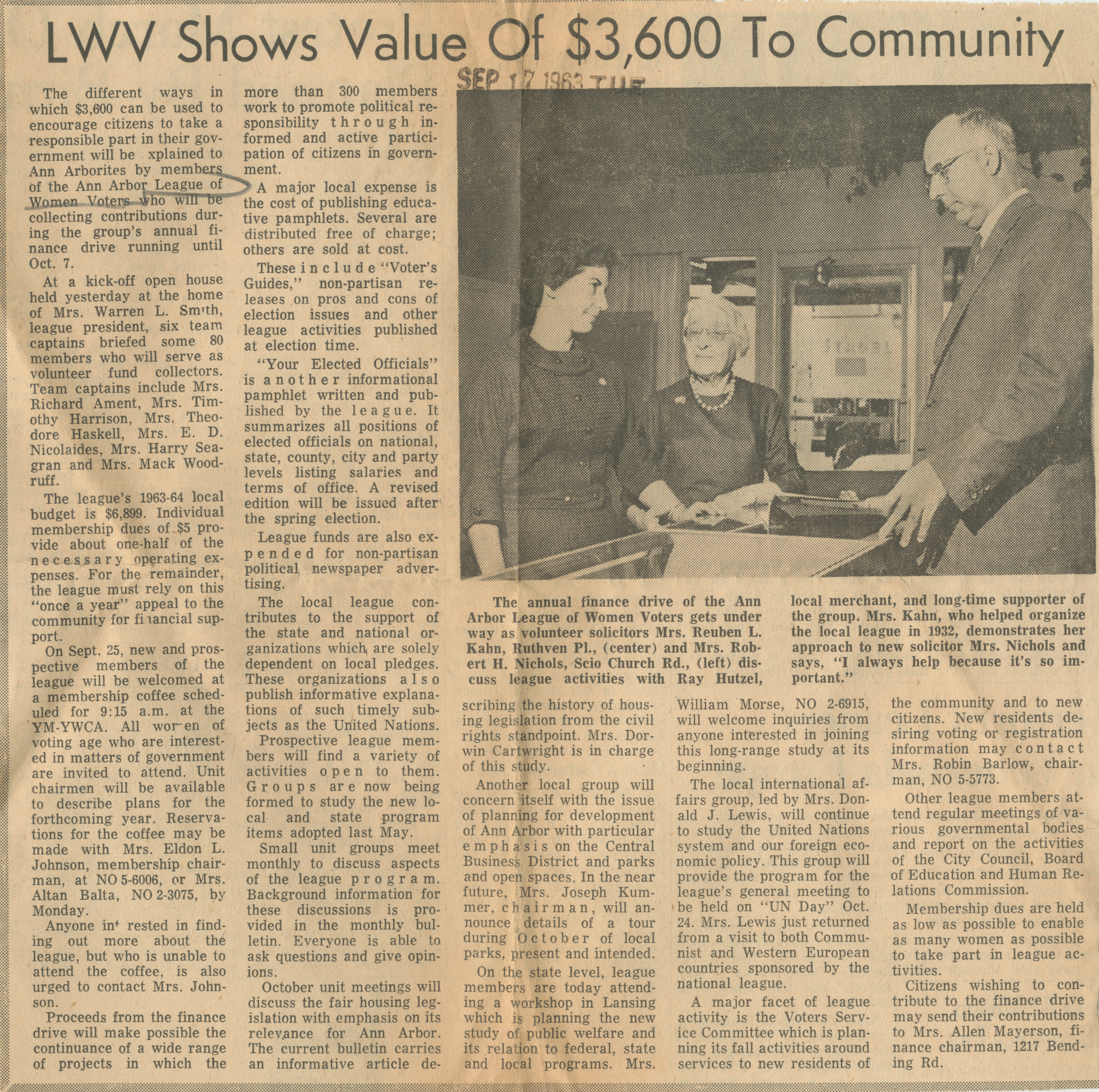 LWV Shows Value Of $3,600 To Community image
