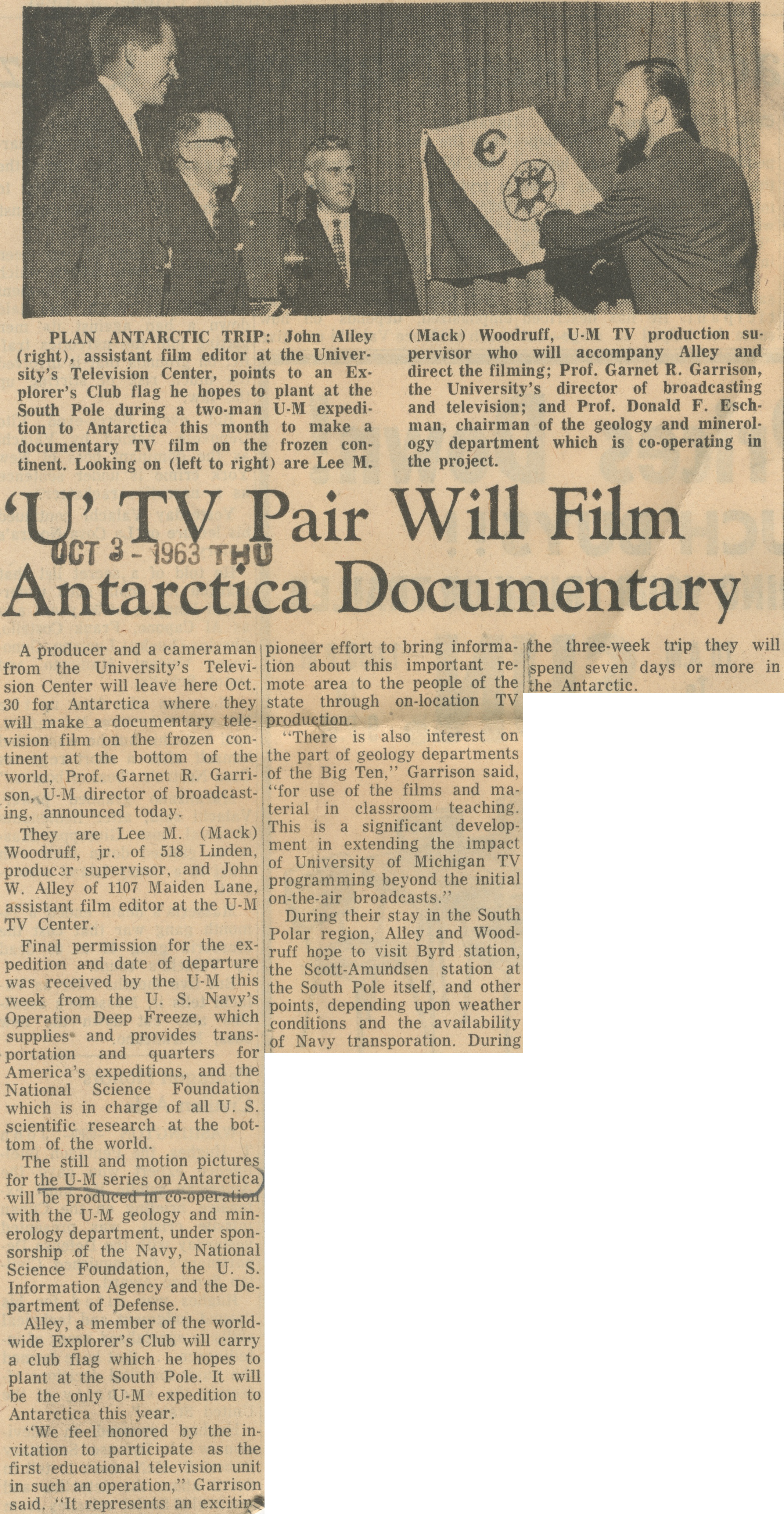 'U' TV Pair Will FIlm Antarctica Documentary image