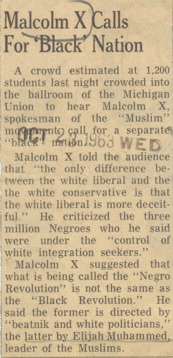 Malcolm X Calls For 'Black' Nation image