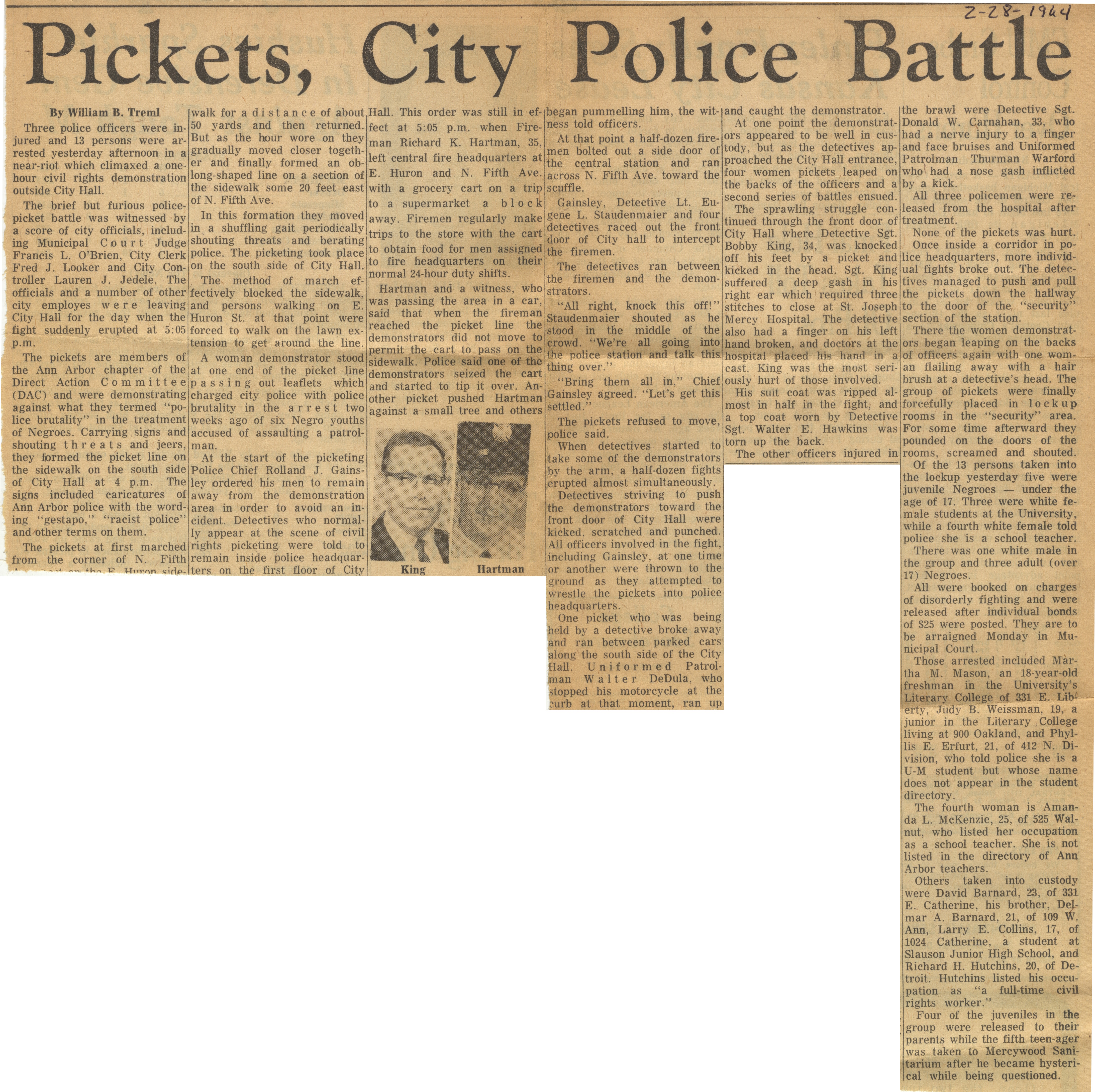 Pickets, City Police Battle image