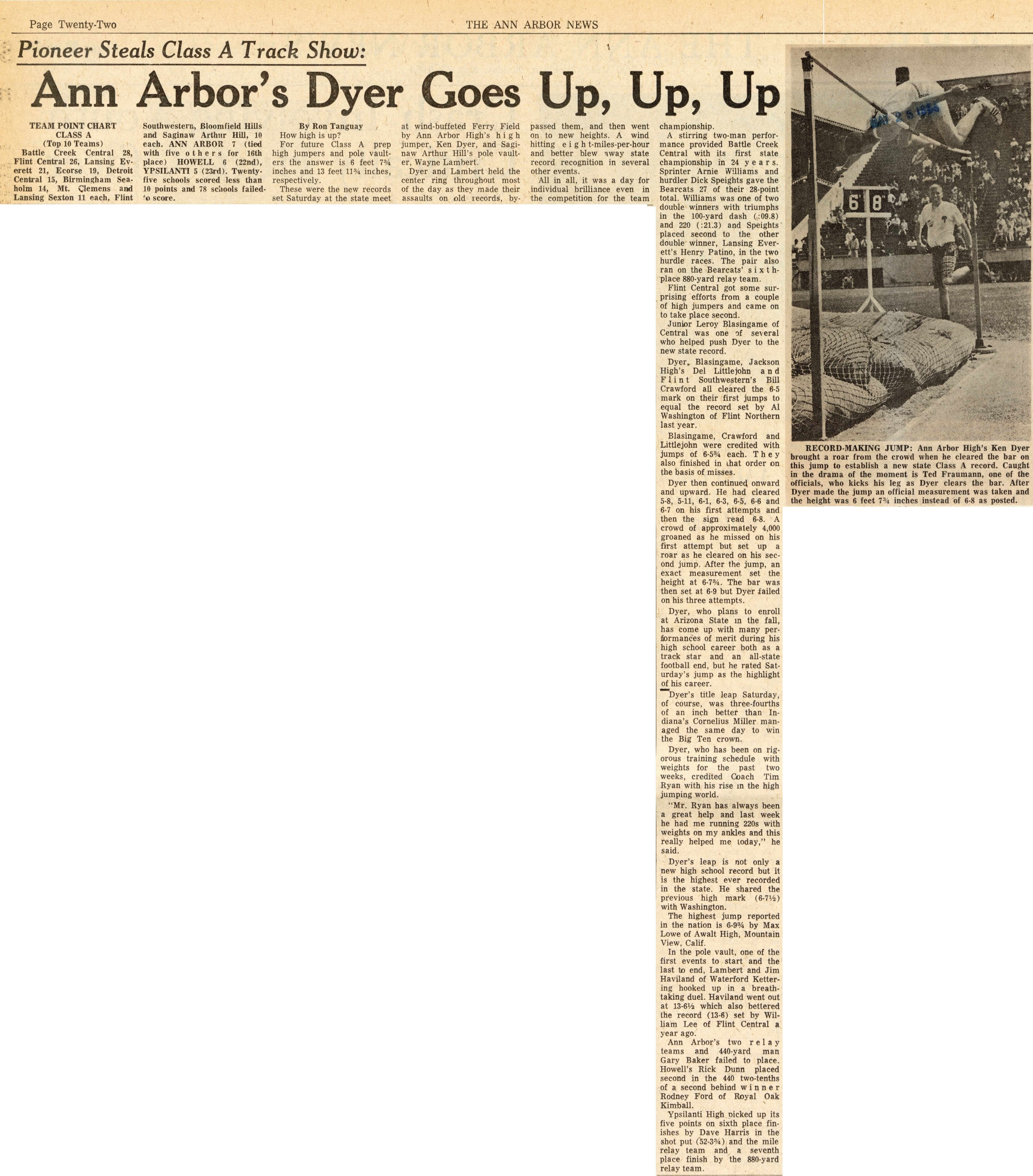 Ann Arbor's Dyer Goes Up, Up, Up image