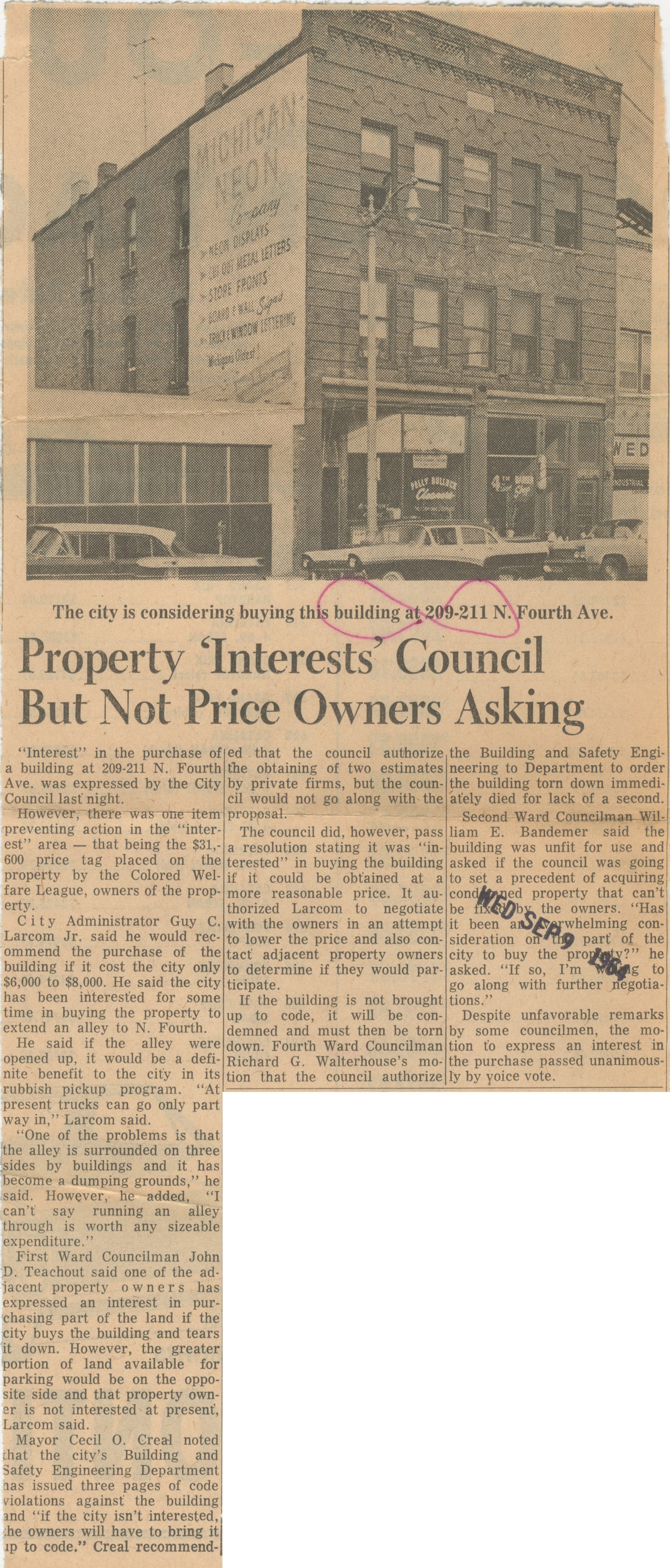 Property 'Interests' Council But Not Price Owners Asking image