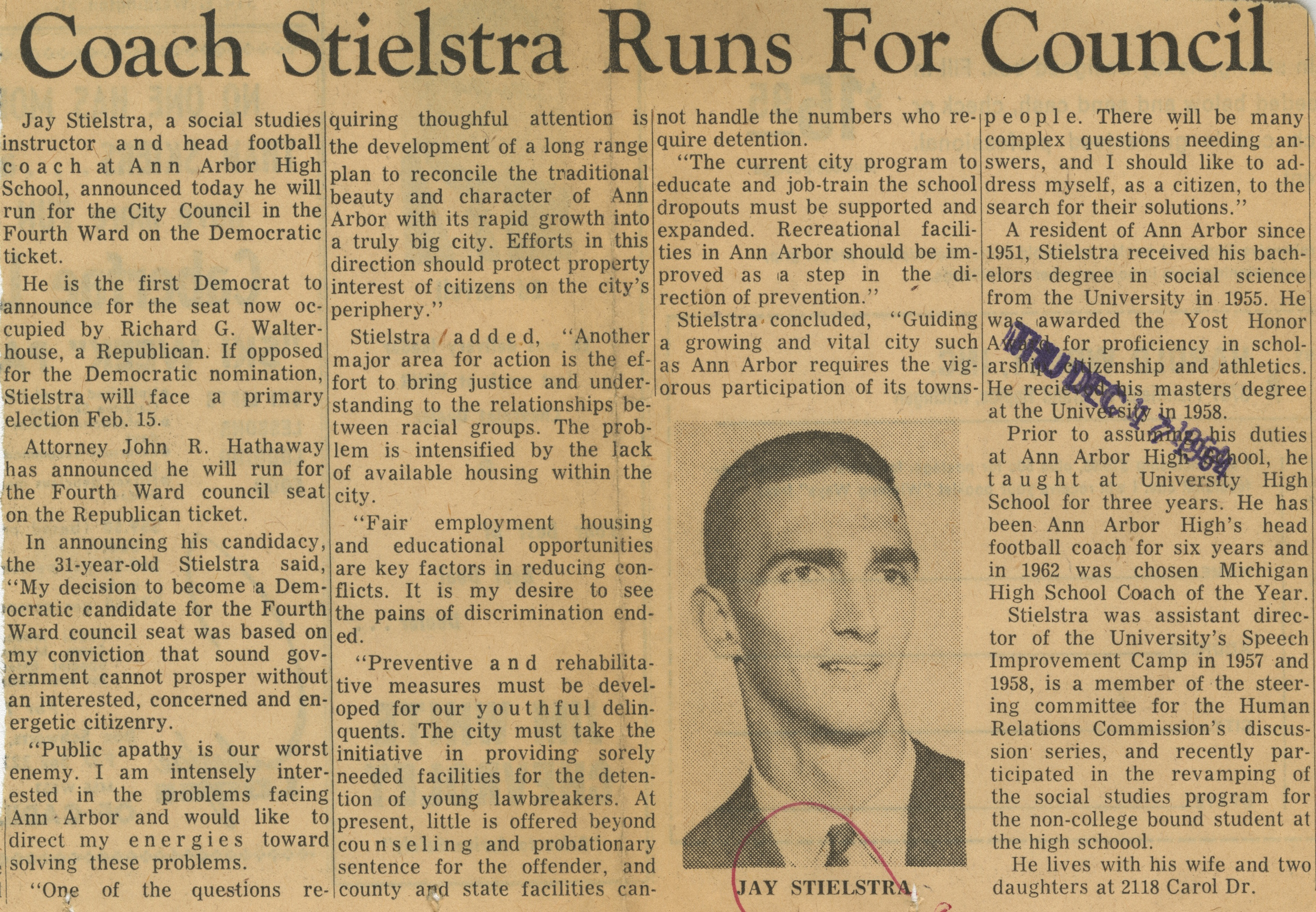 Coach Stielstra Runs For Council image
