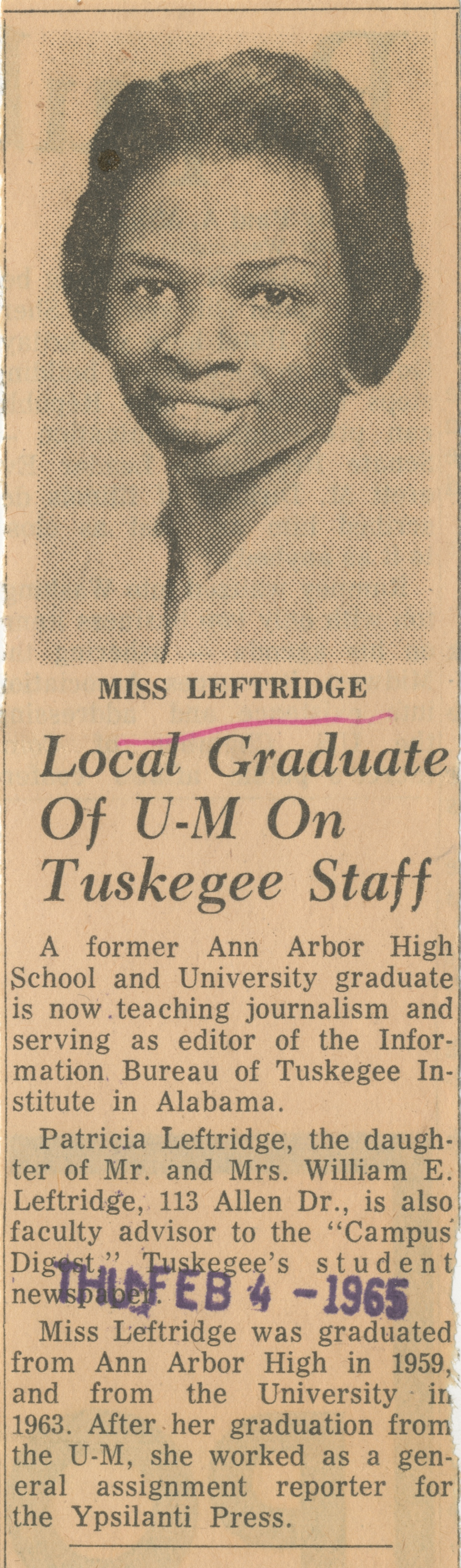 Local Graduate Of U-M On Tuskegee Staff image