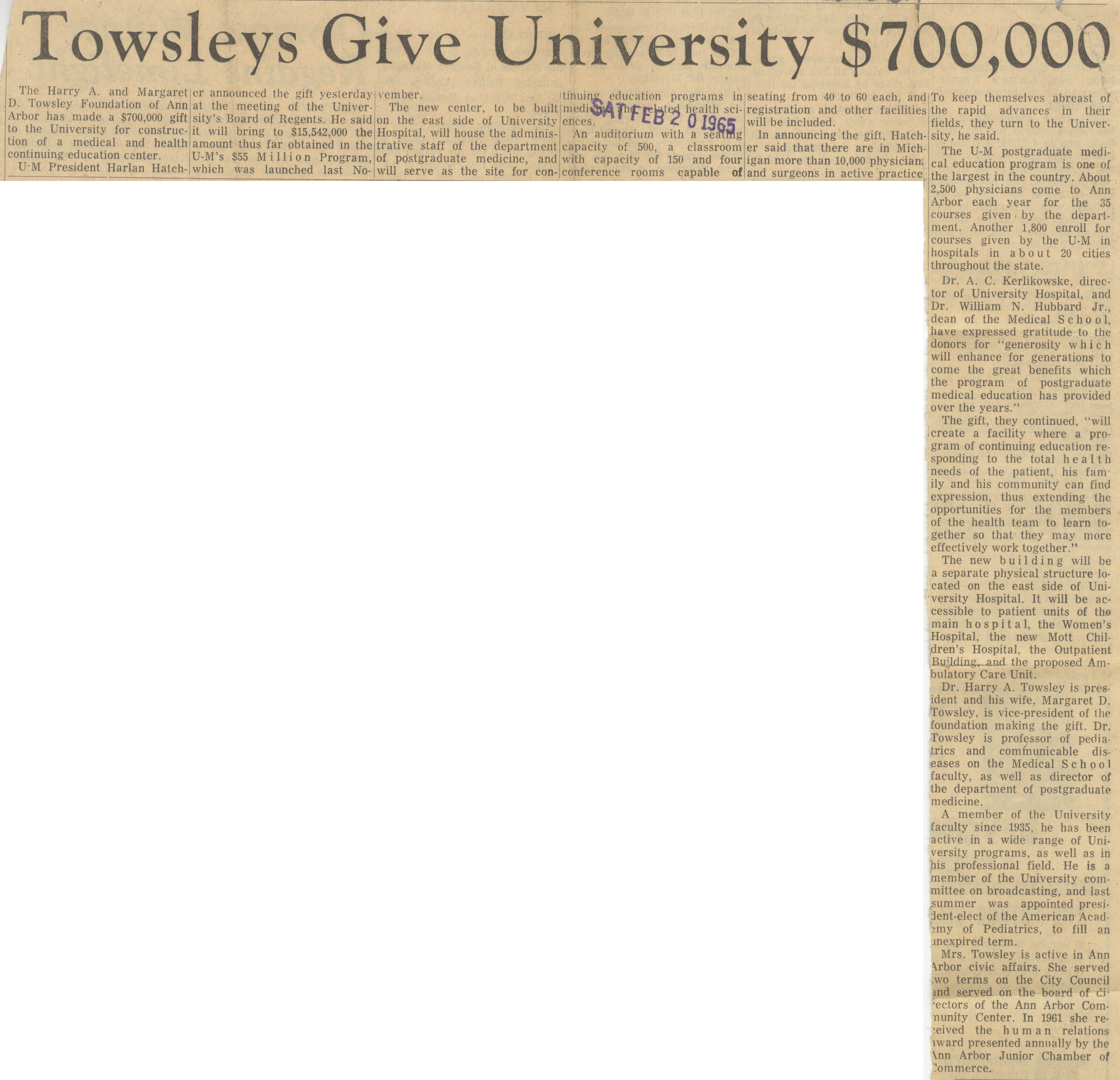 Towsleys Give University $700,000 image