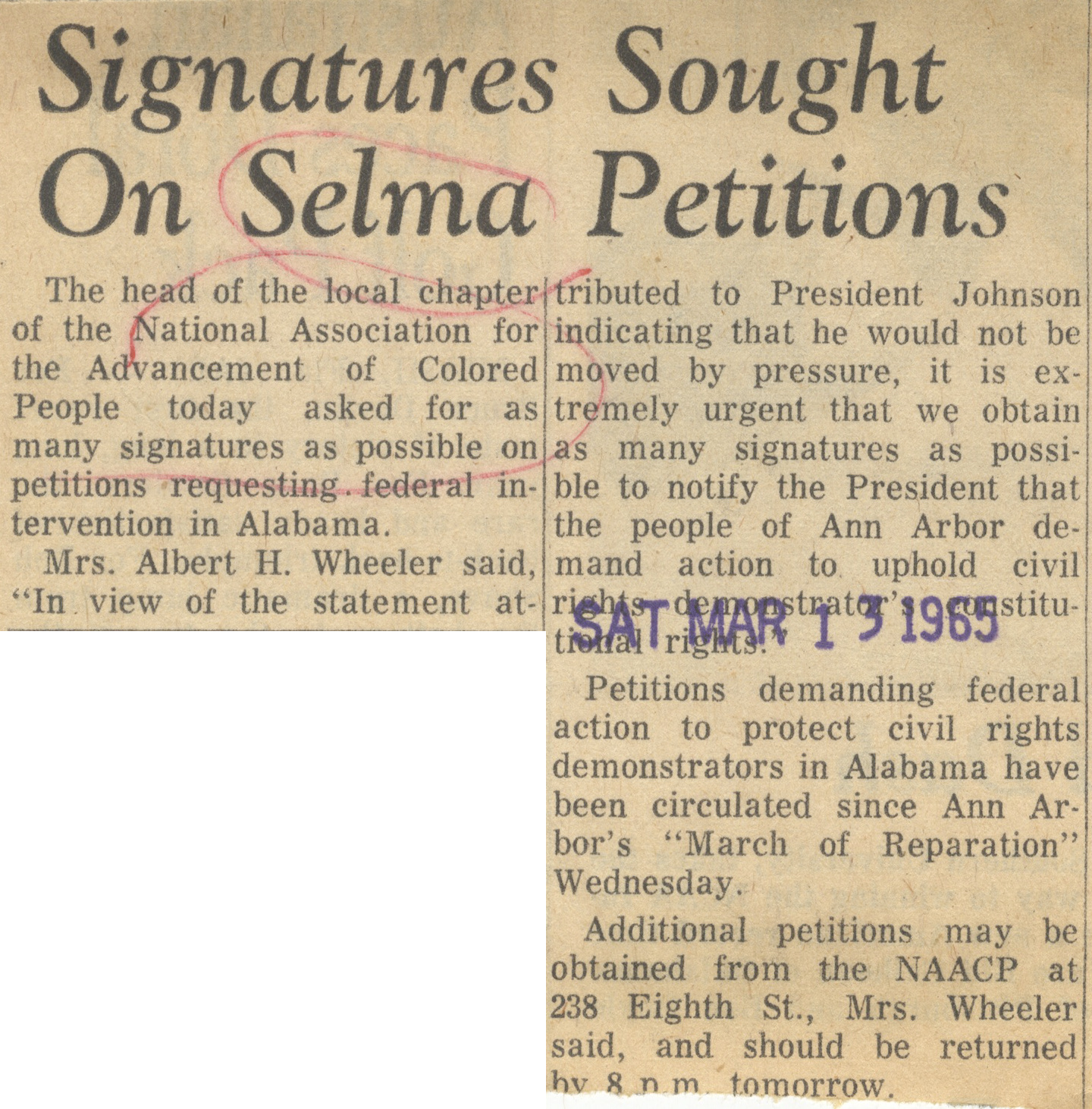 Signatures Sought On Selma Petitions image