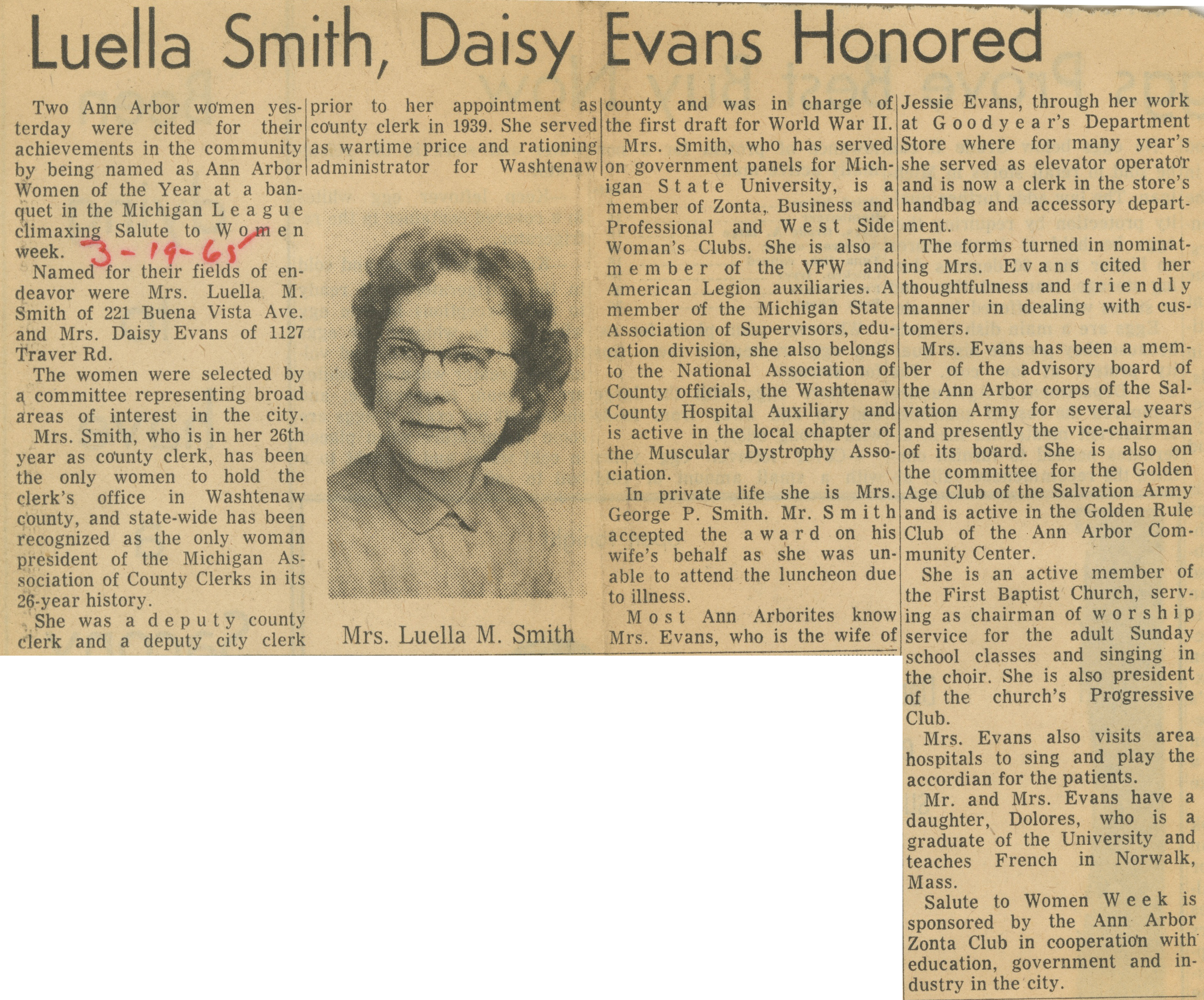 Luella Smith, Daisy Evans Honored image