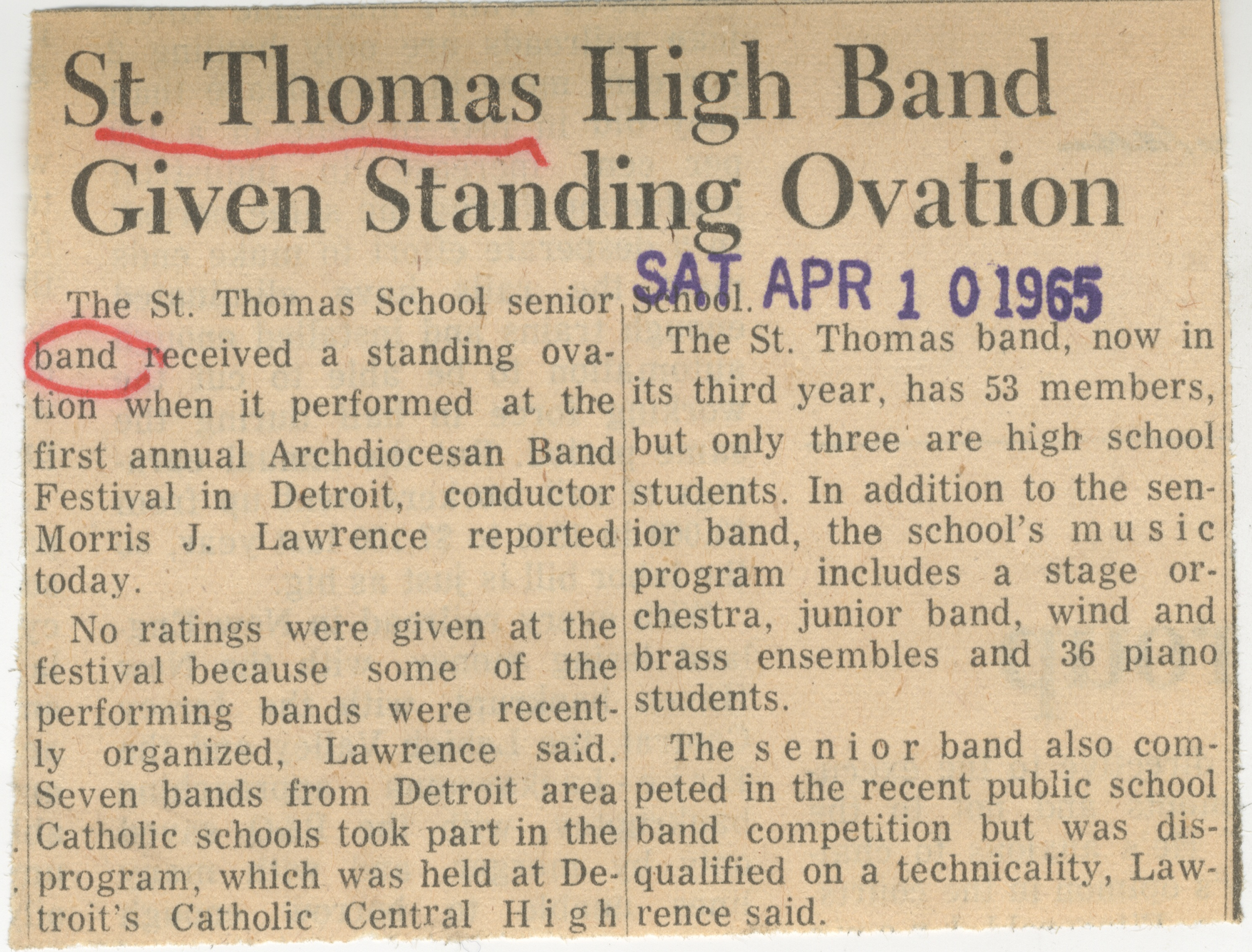 St.Thomas High Band Given Standing Ovation image