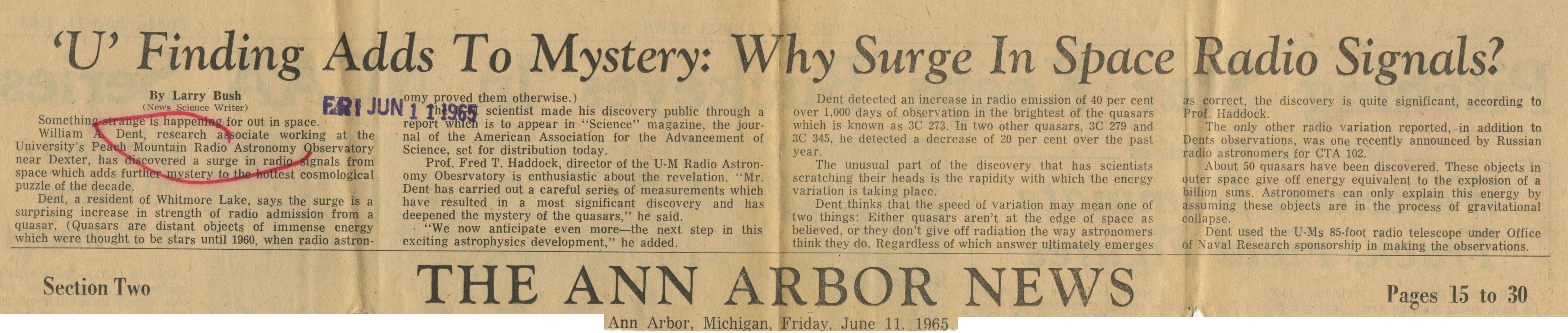 'U' Finding Adds To Mystery: Why Surge In Space Radio Signals? image