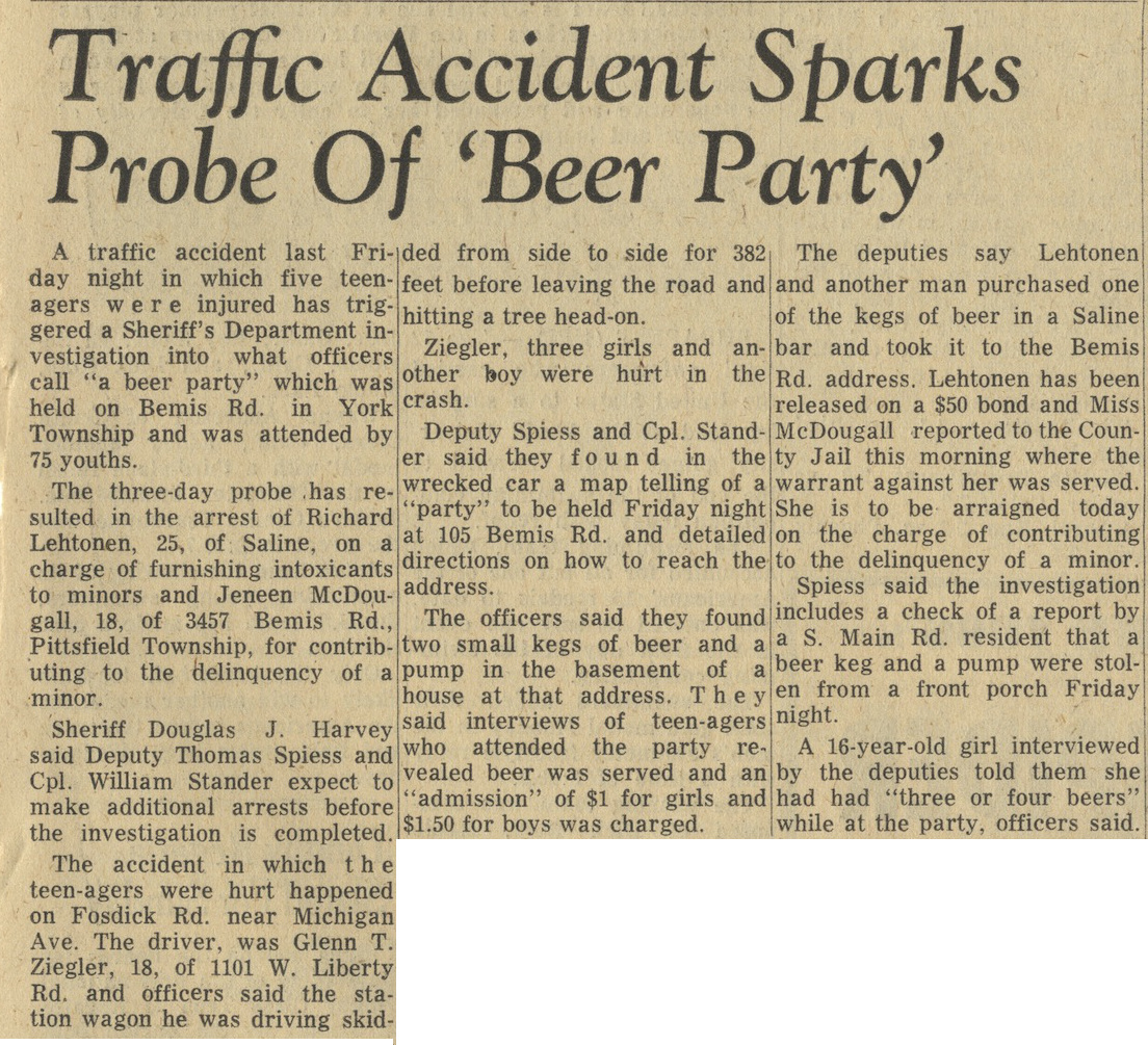 Traffic Accident Sparks Probe Of 'Beer Party' image