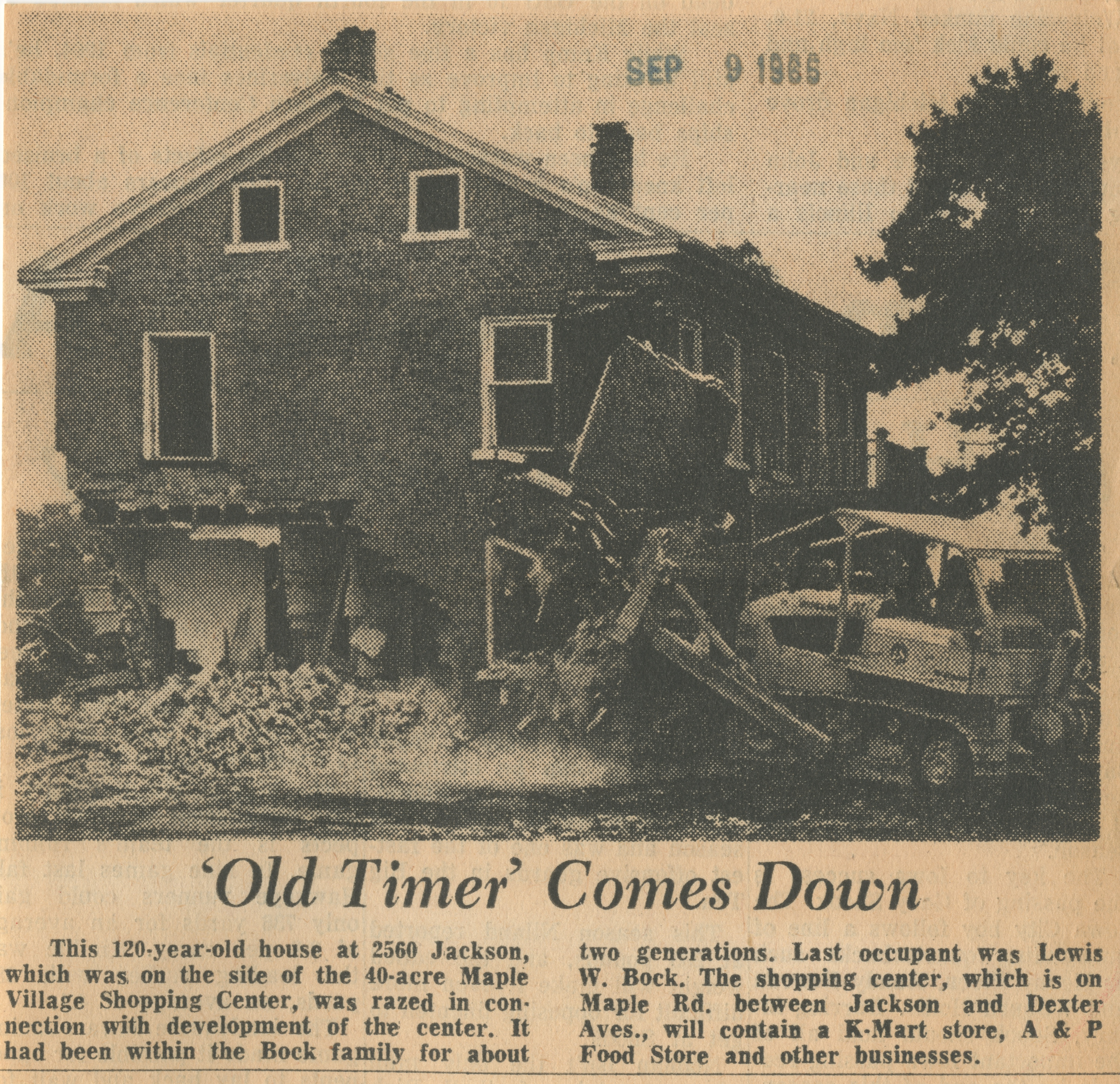 'Old Timer' Comes Down image