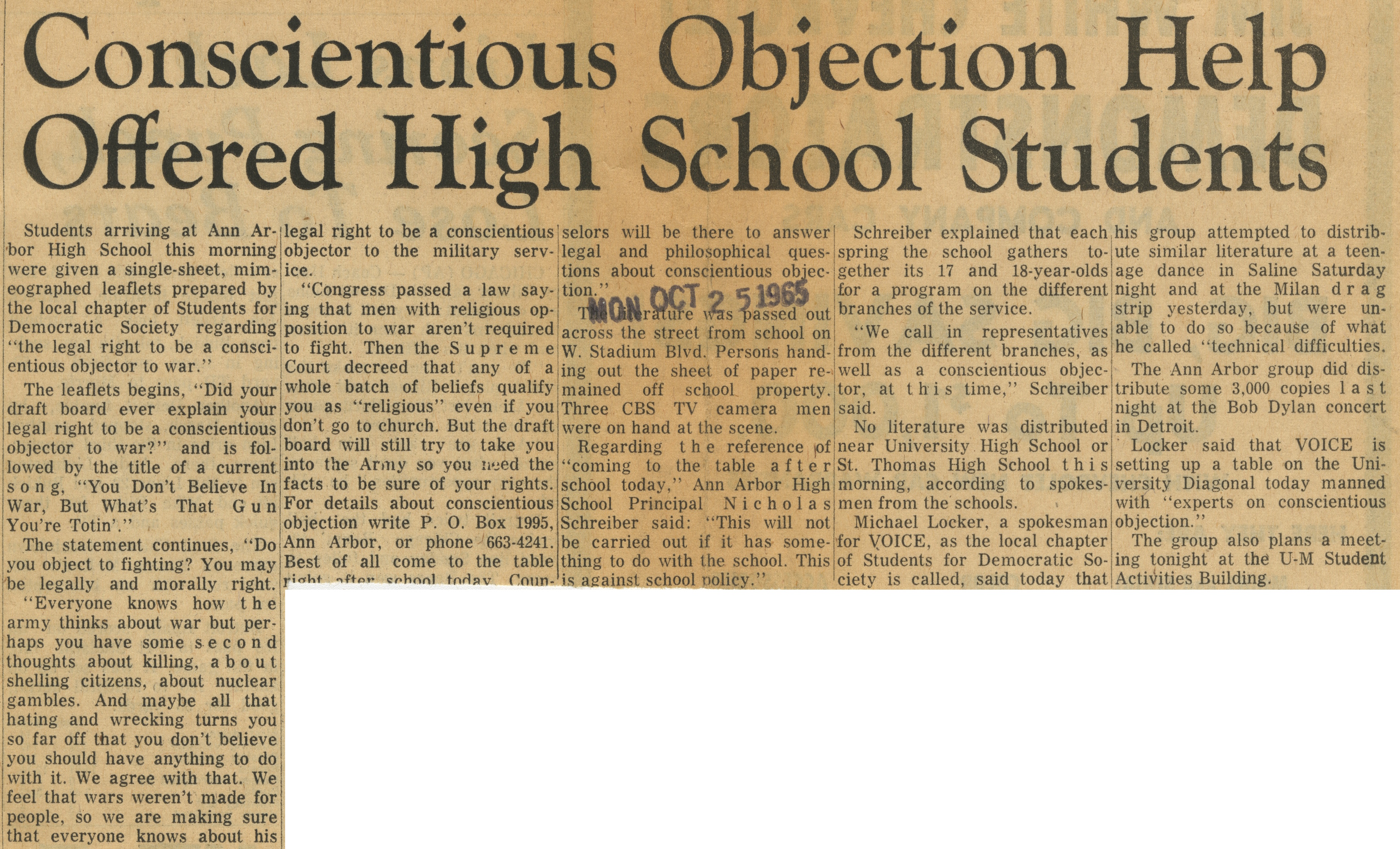 Conscientious Objection Help Offered High School Students image