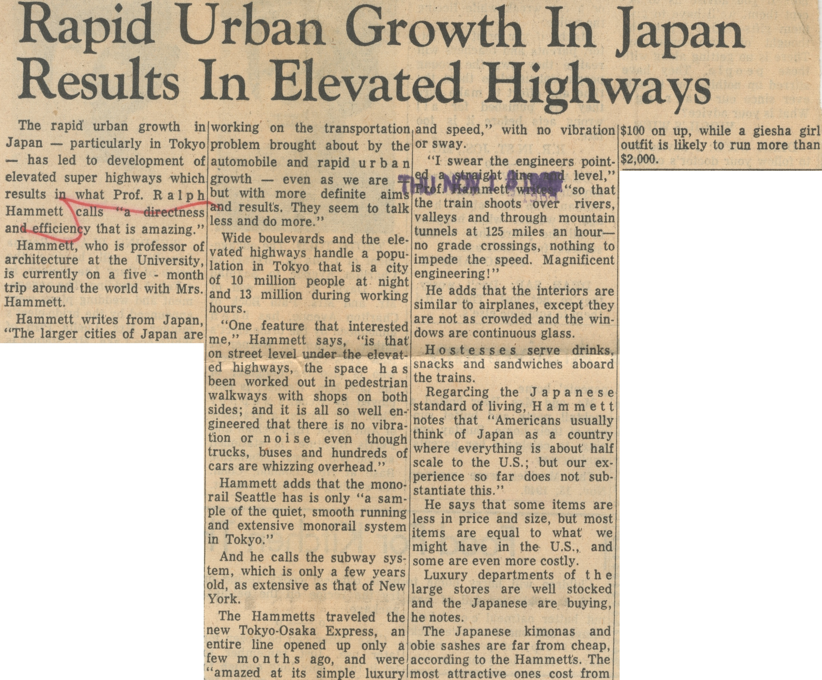 Rapid Urban Growth In Japan Results In Elevated Highways image