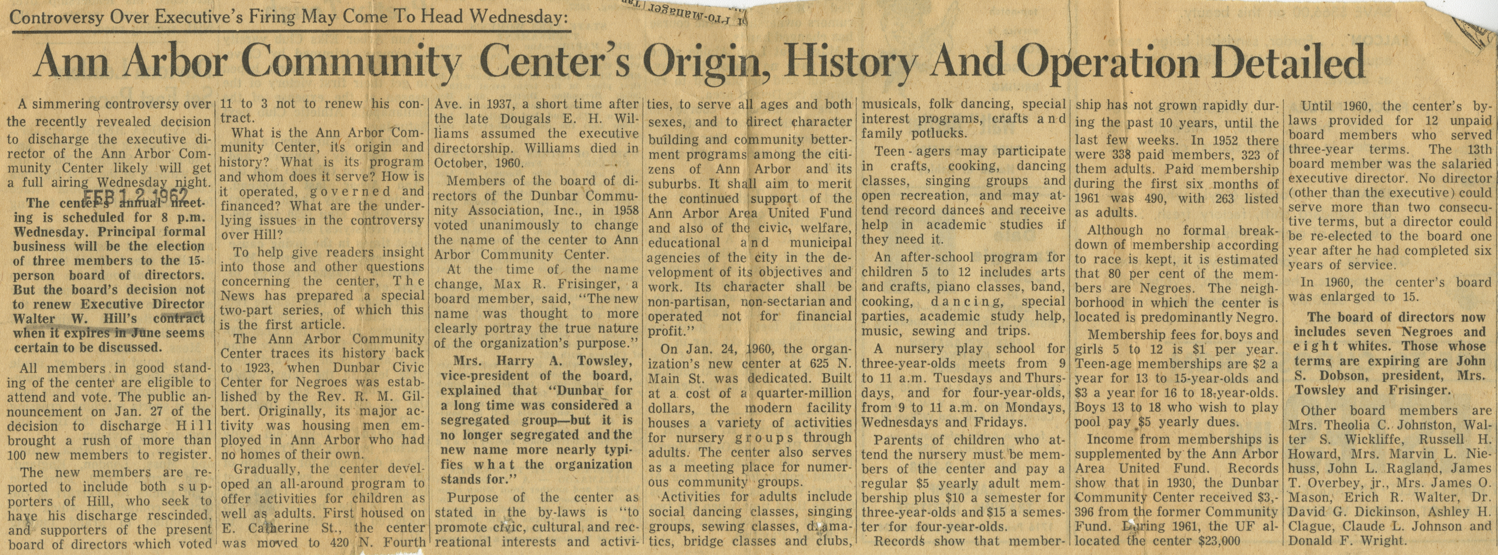 Ann Arbor Community Center's Origin, History And Operation Detailed image