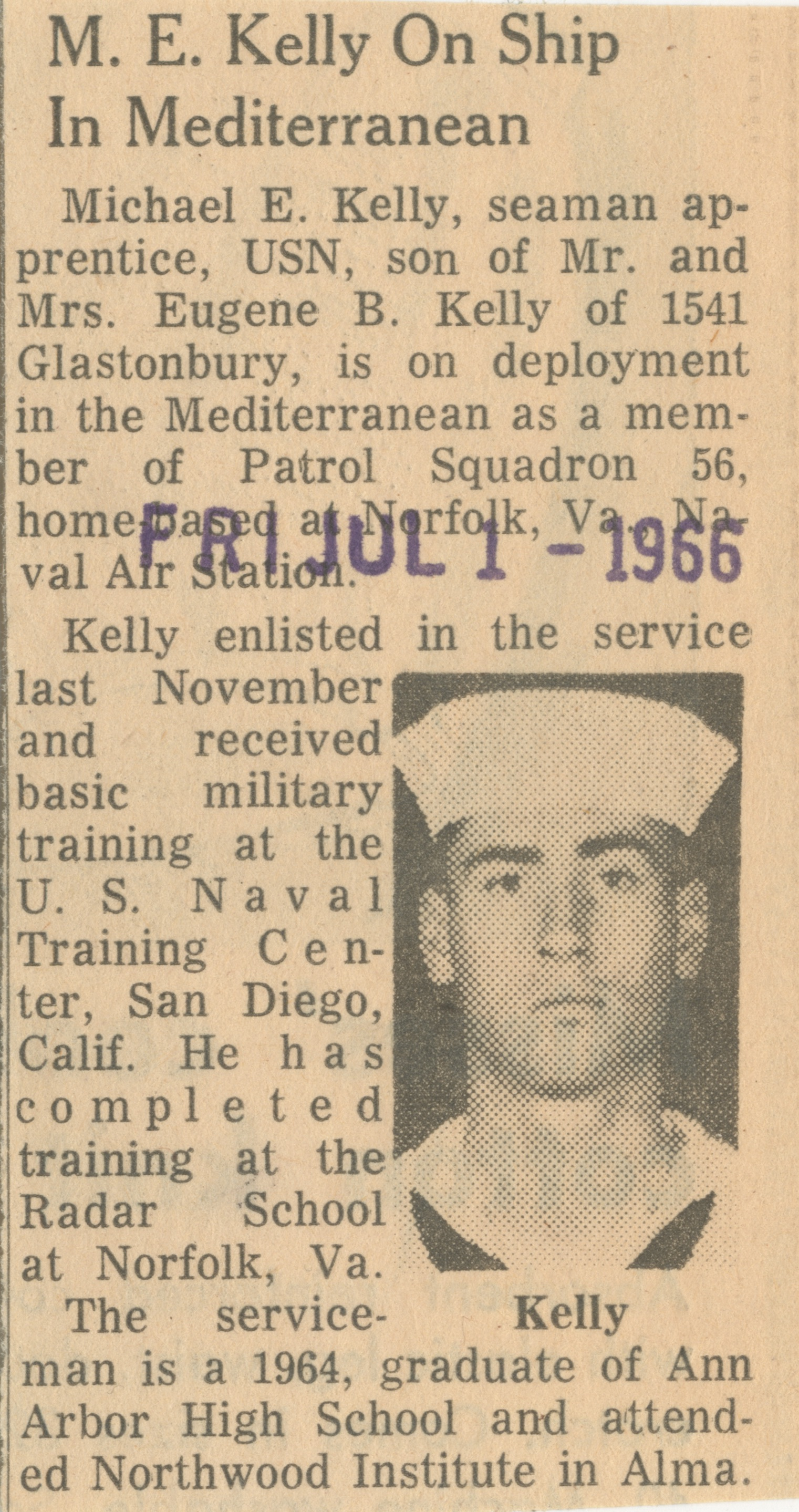 M. E. Kelly On Ship In Mediterranean image