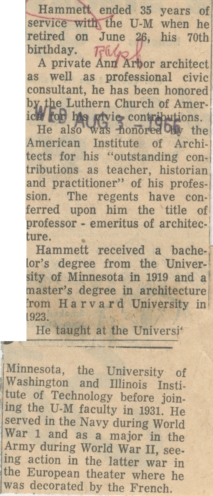 Hammett Ended 35 Years Of Service With U-M. image