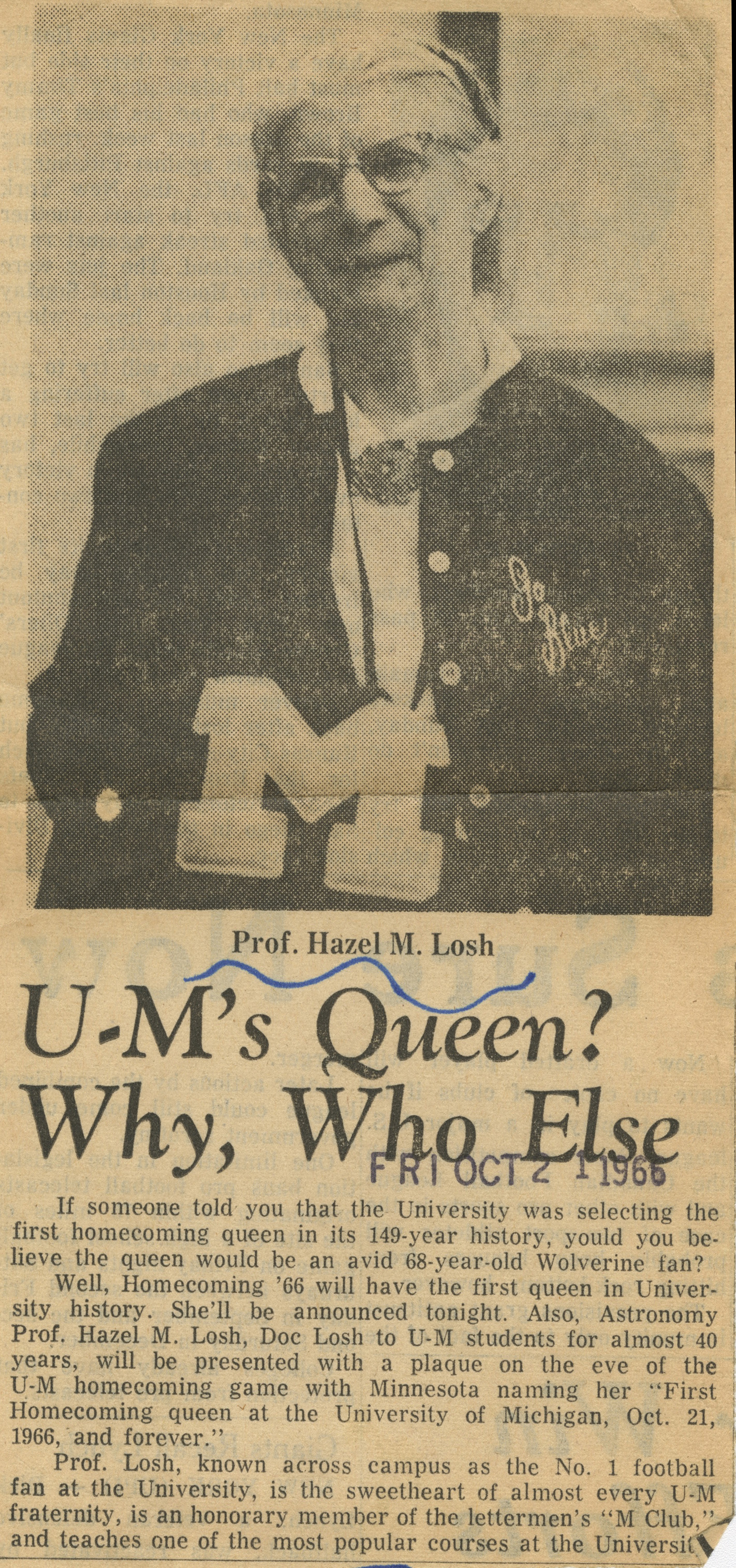 U-M's Queen? Why, Who Else image