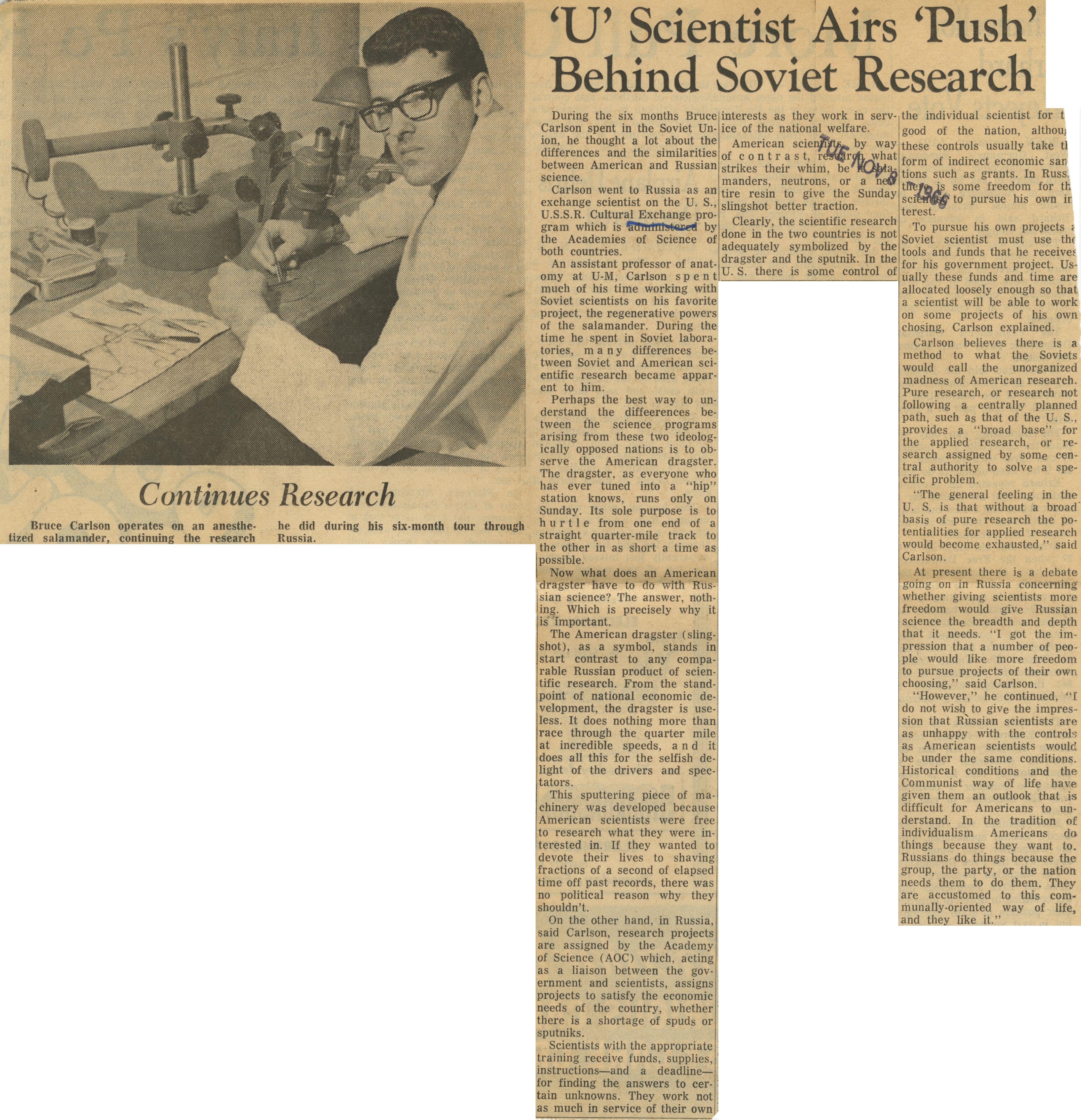'U' Scientist  Airs 'Push' Behind Soviet Research image