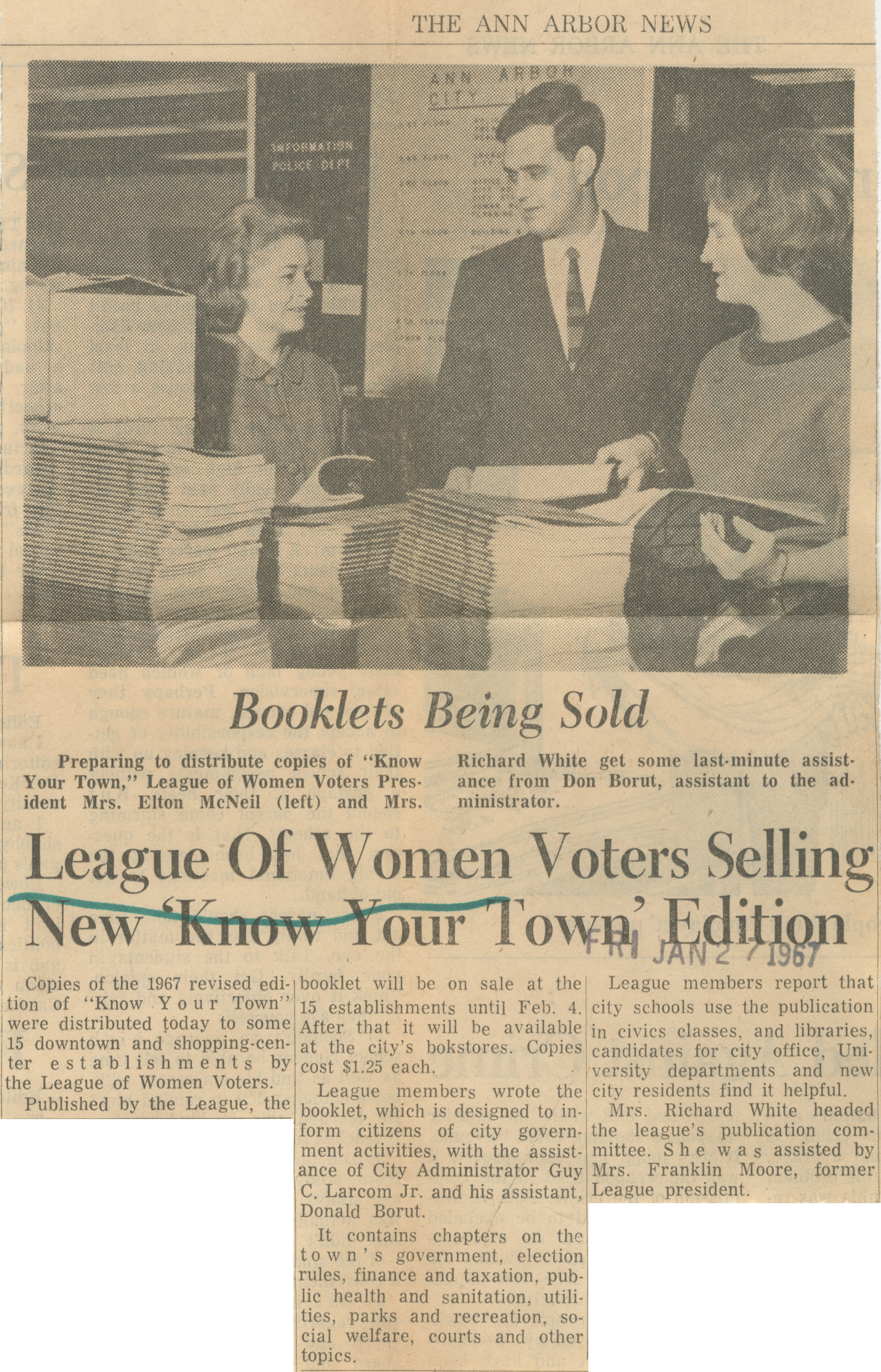 League Of Women Voters Selling New 'Know Your Town' Edition image