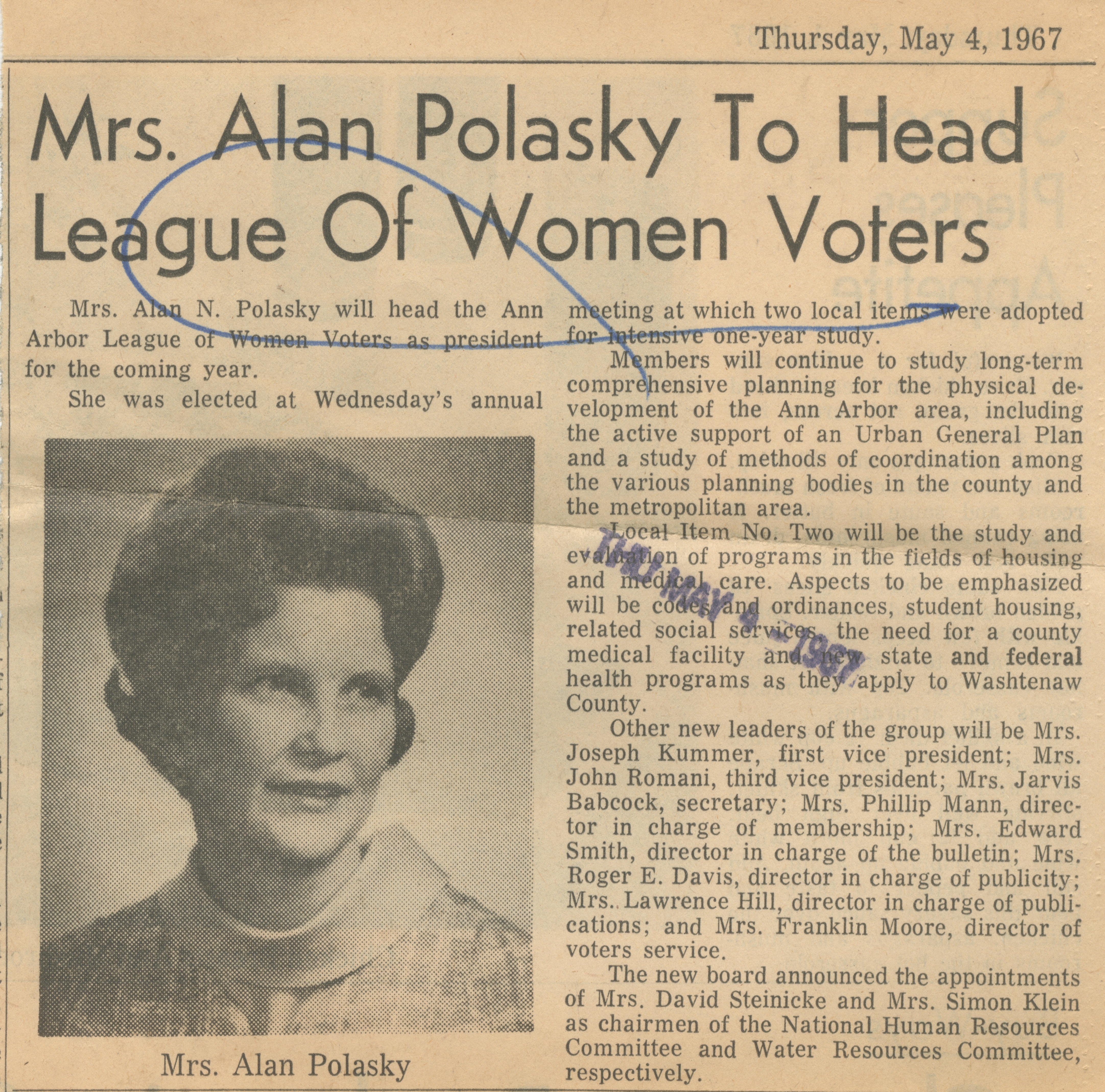 Mrs. Alan Polasky To Head League Of Women Voters image