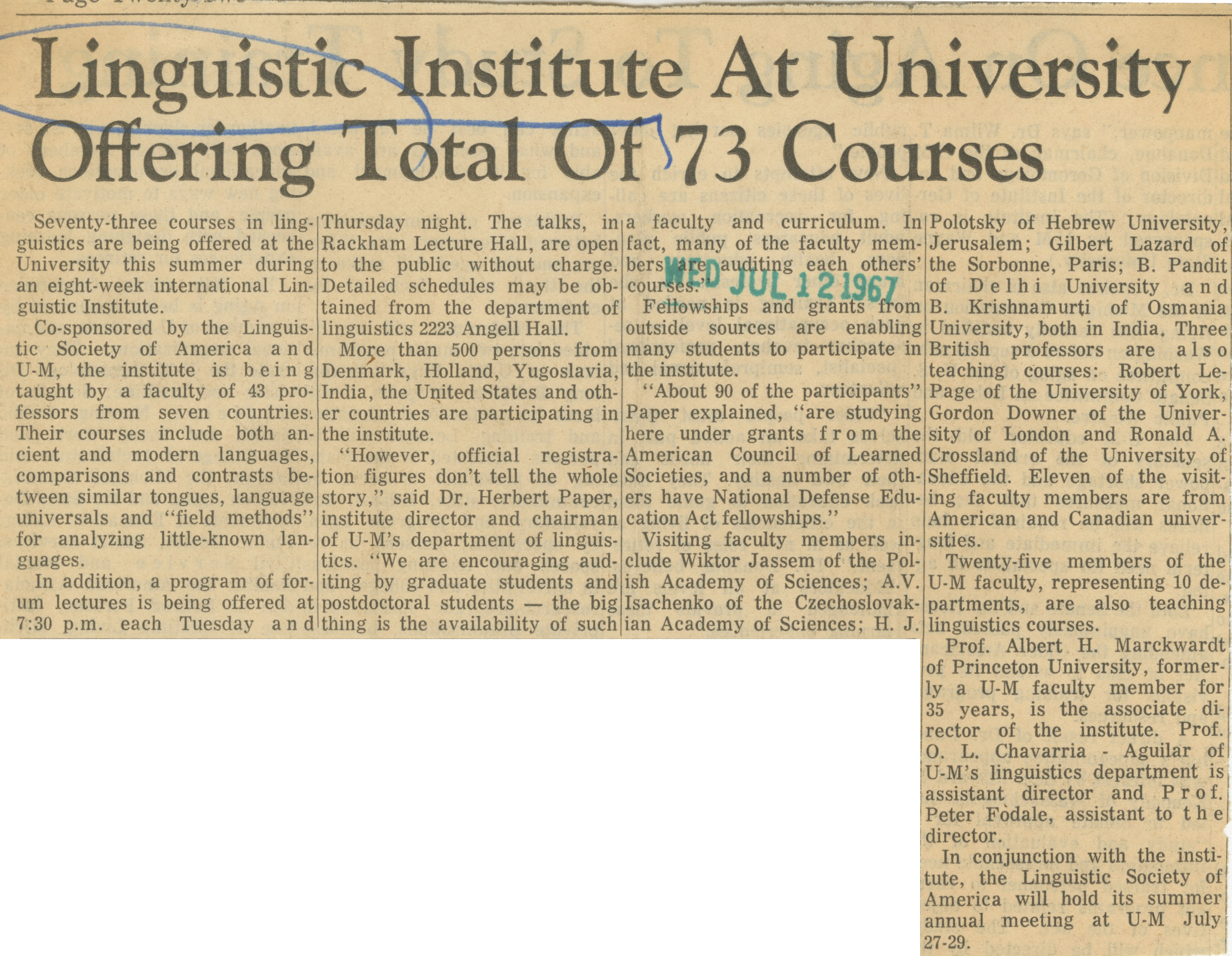 Linguistic Institute At University Offering Total Of 73 Courses image