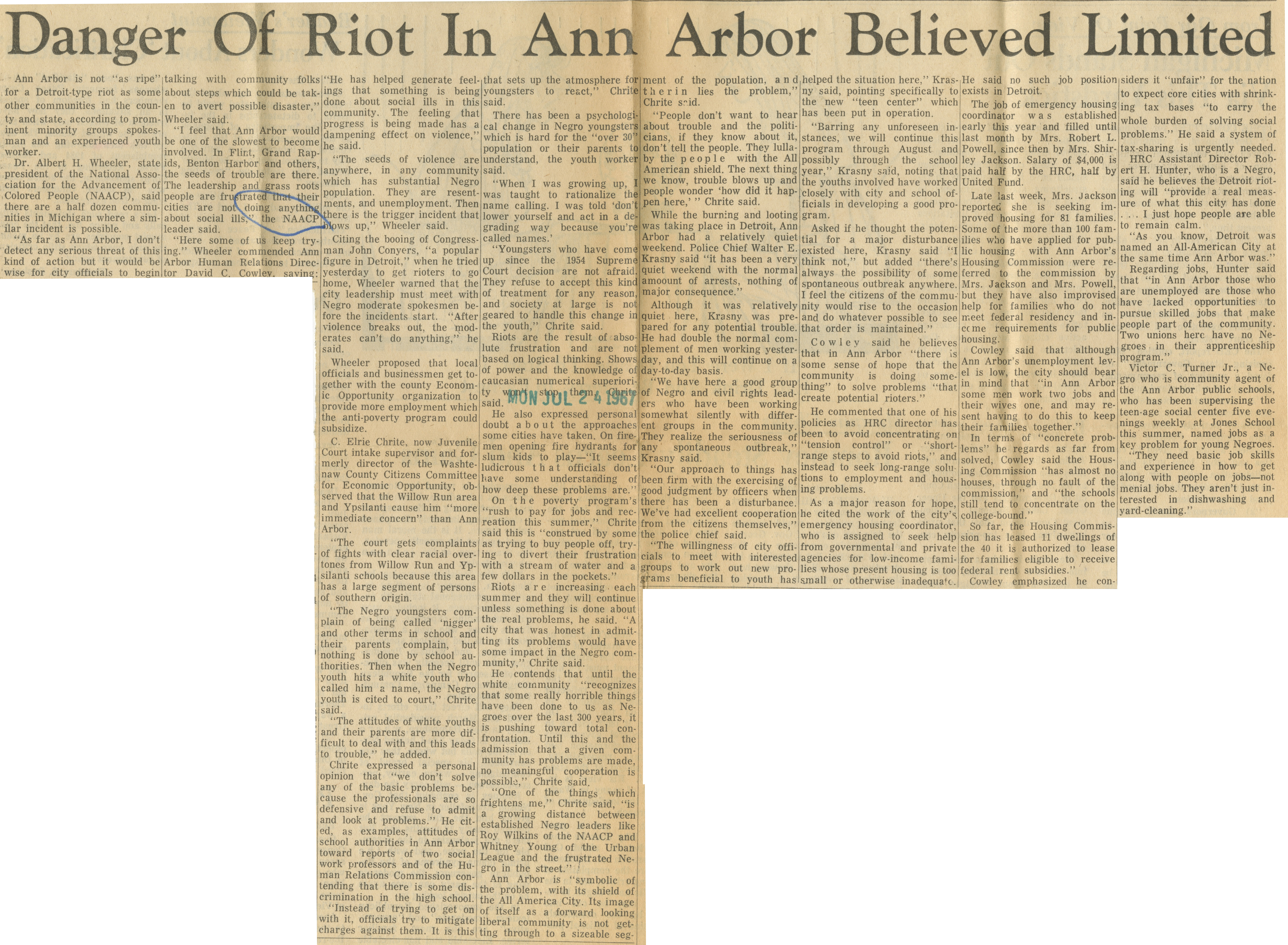 Danger Of Riot In Ann Arbor Believed Limited image