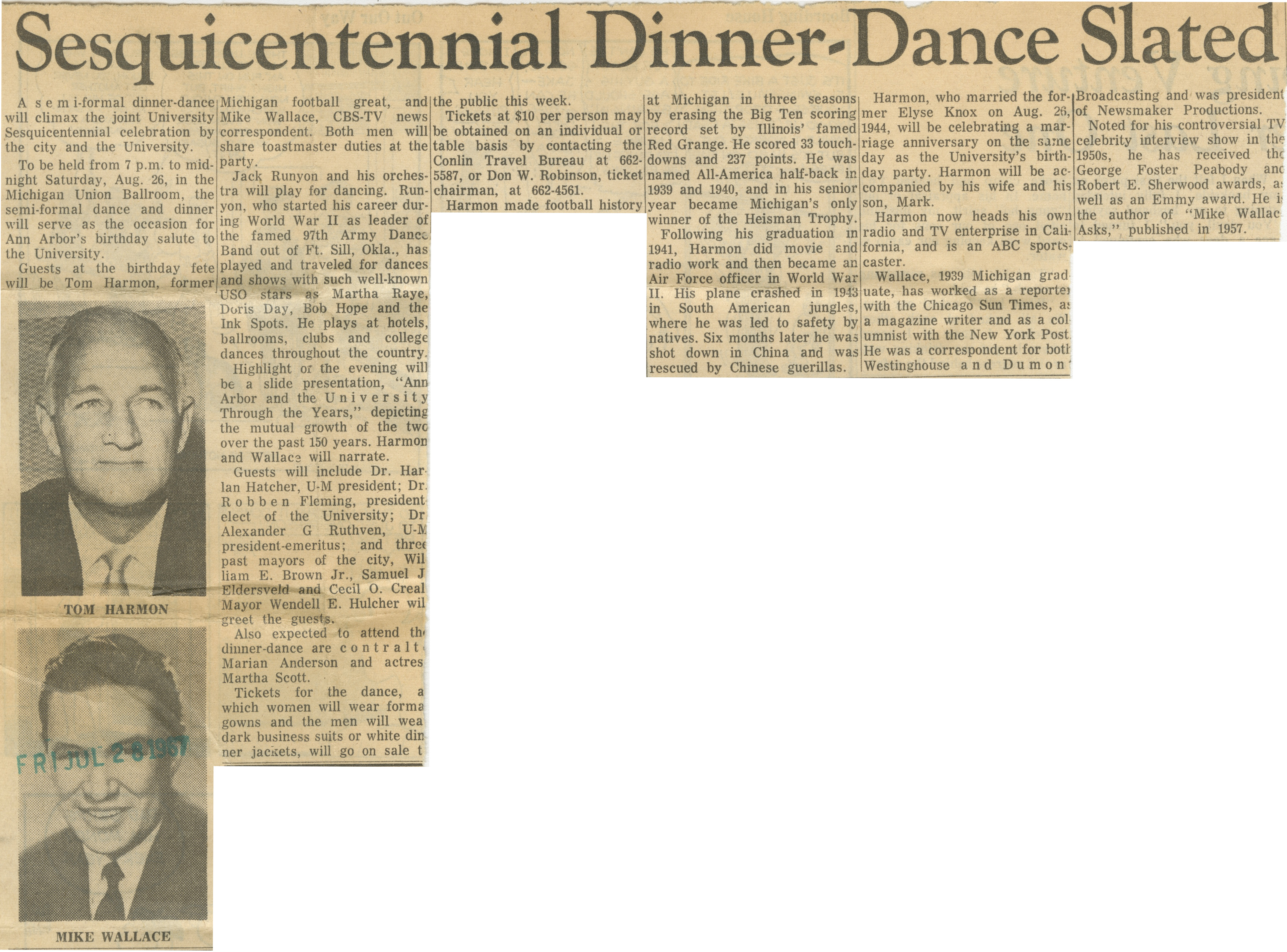 Sesquicentennial Dinner-Dance Slated image