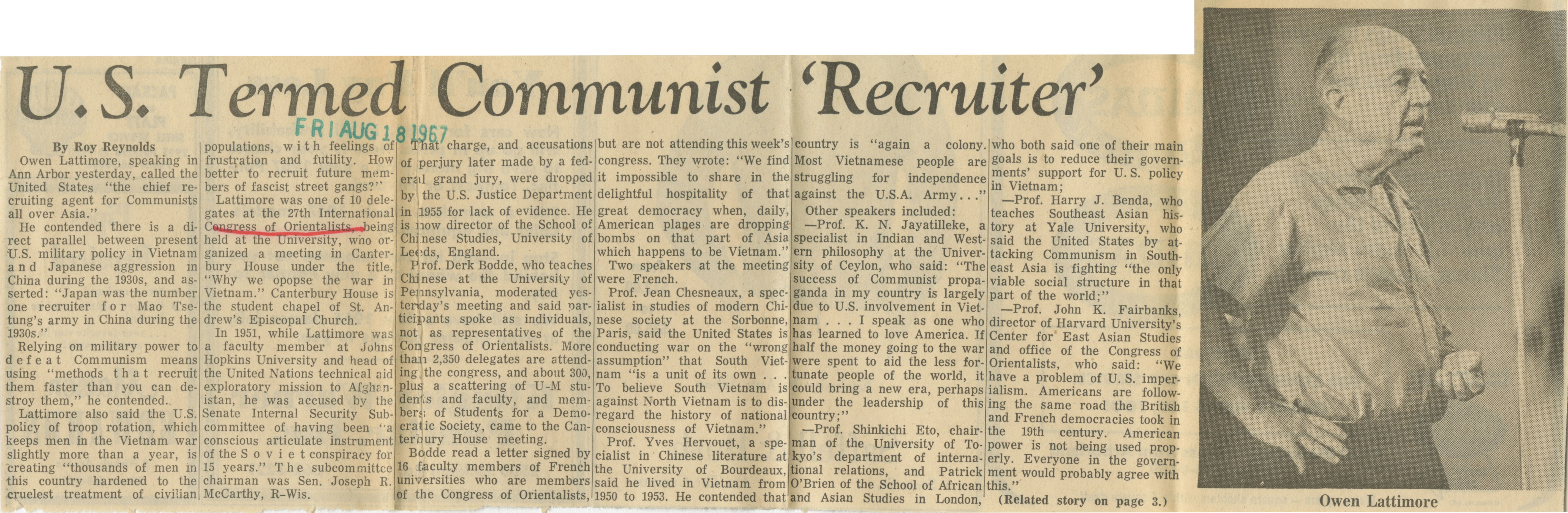 U. S. Termed Communist Recruiter image
