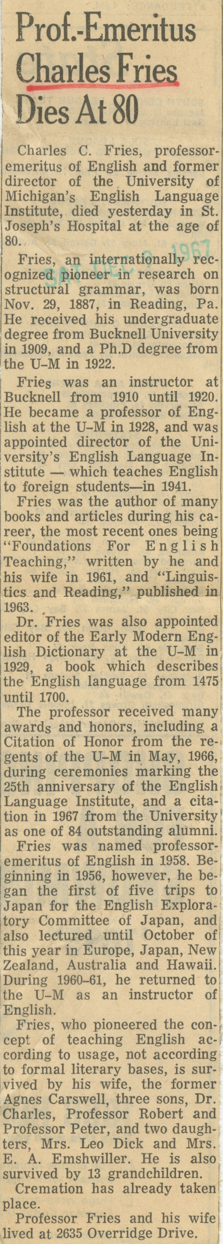 Prof. Emeritus Charles Fries Dies At 80 image