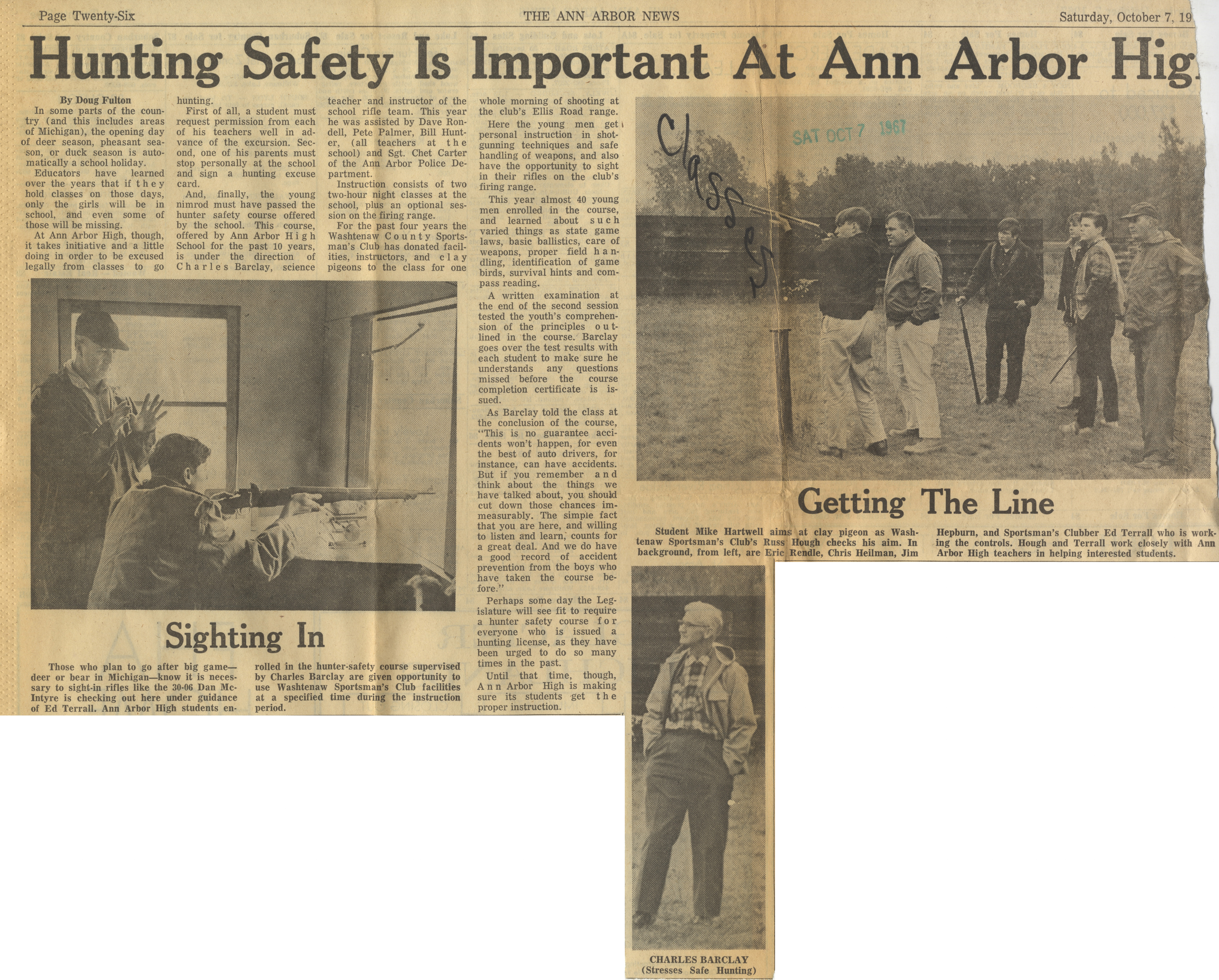 Hunting Safety Is Important At Ann Arbor High image