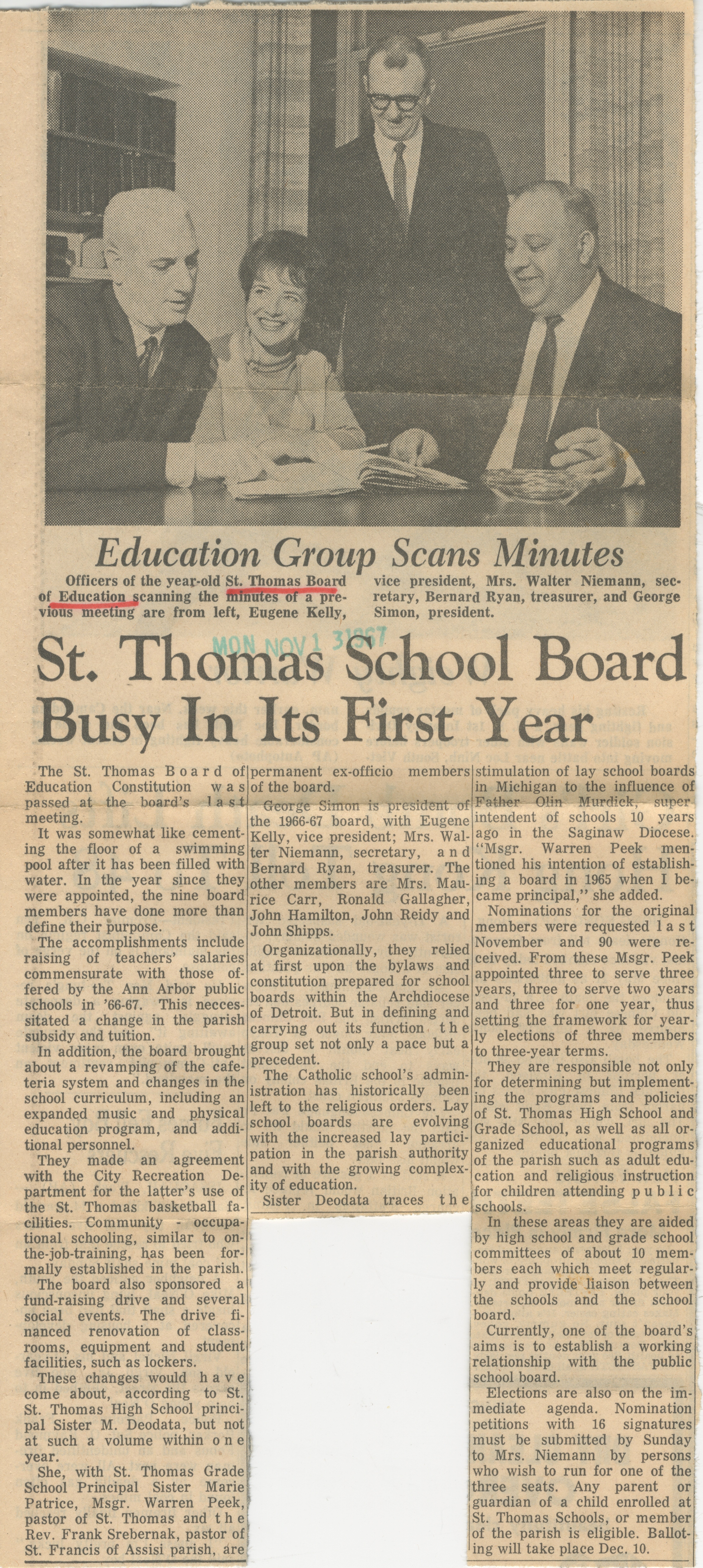 St Thomas School Board Busy In Its First Year image