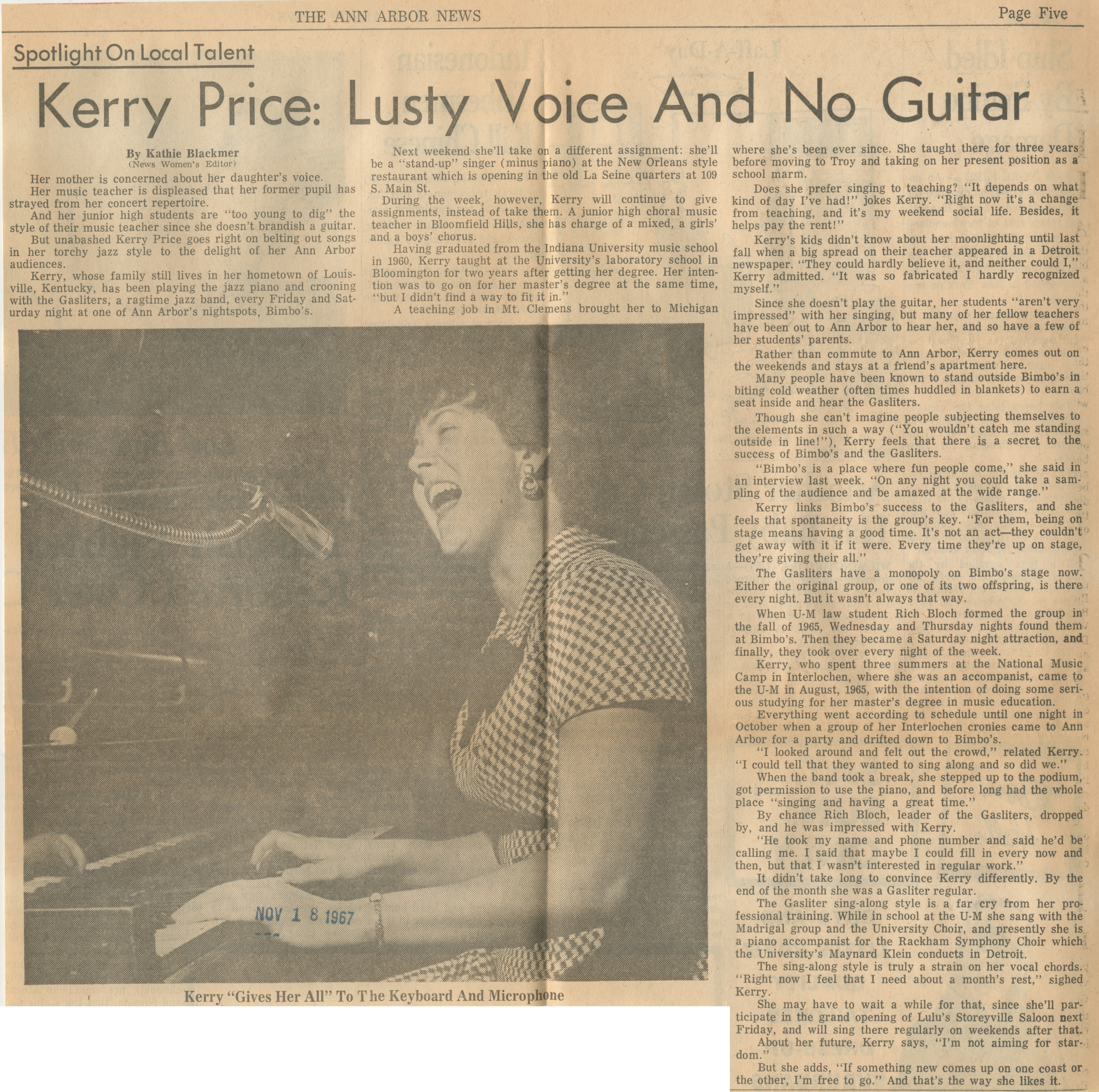 Kerry Price: Lusty Voice And No Guitar image