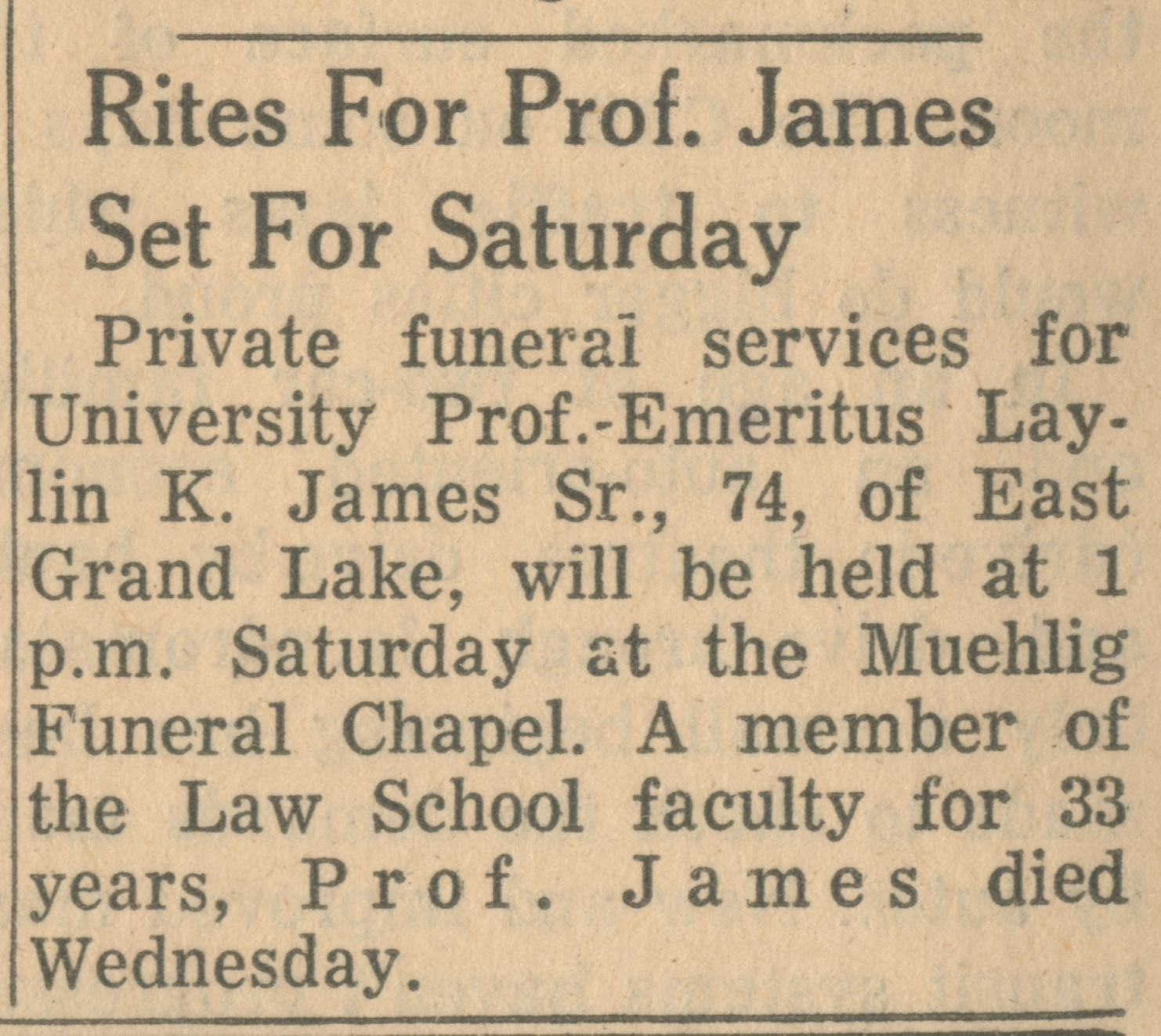 Rites For Prof. James Set For Saturday image