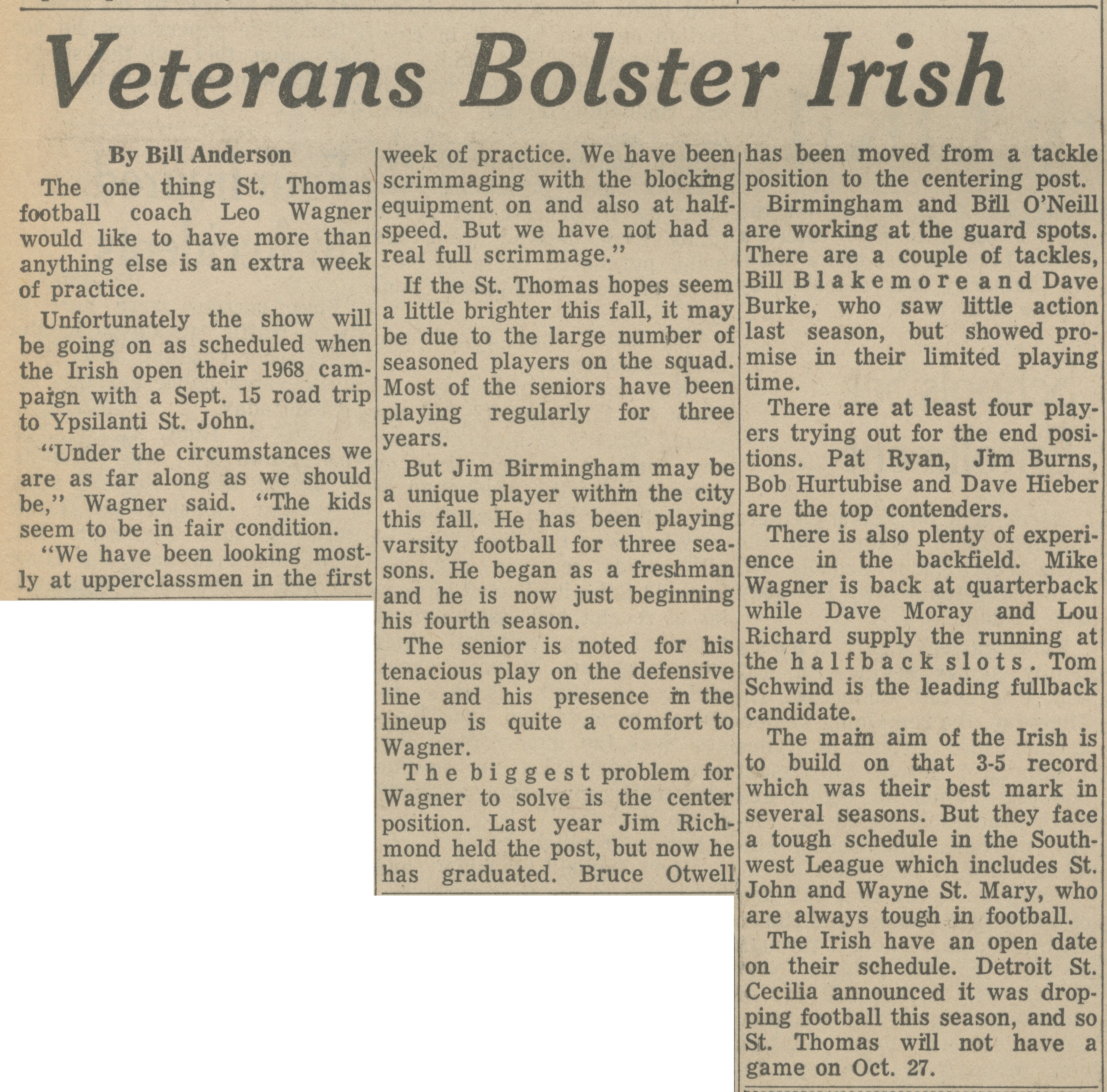Veterans Bolster Irish image
