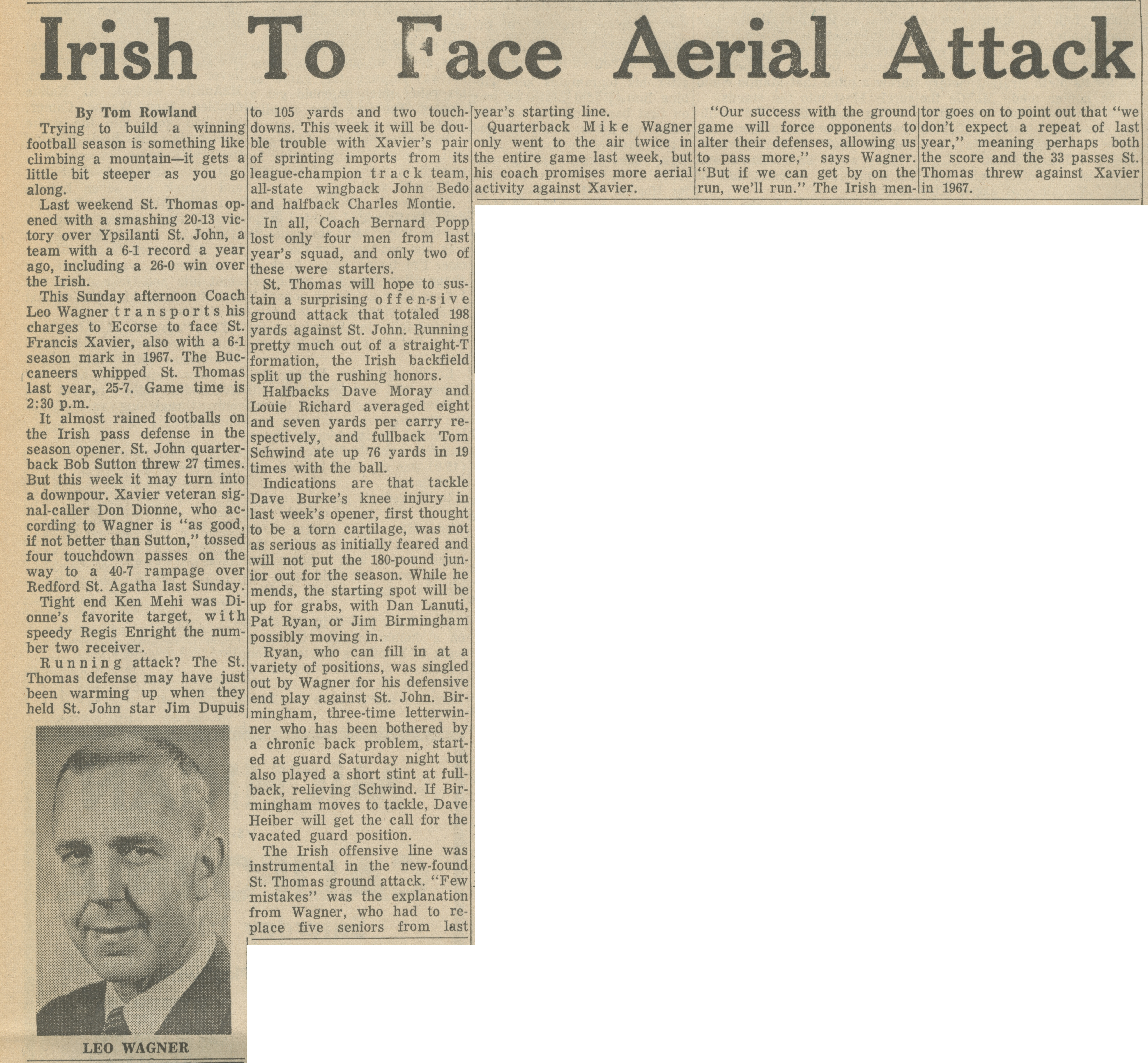 Irish To Face Aerial Attack image