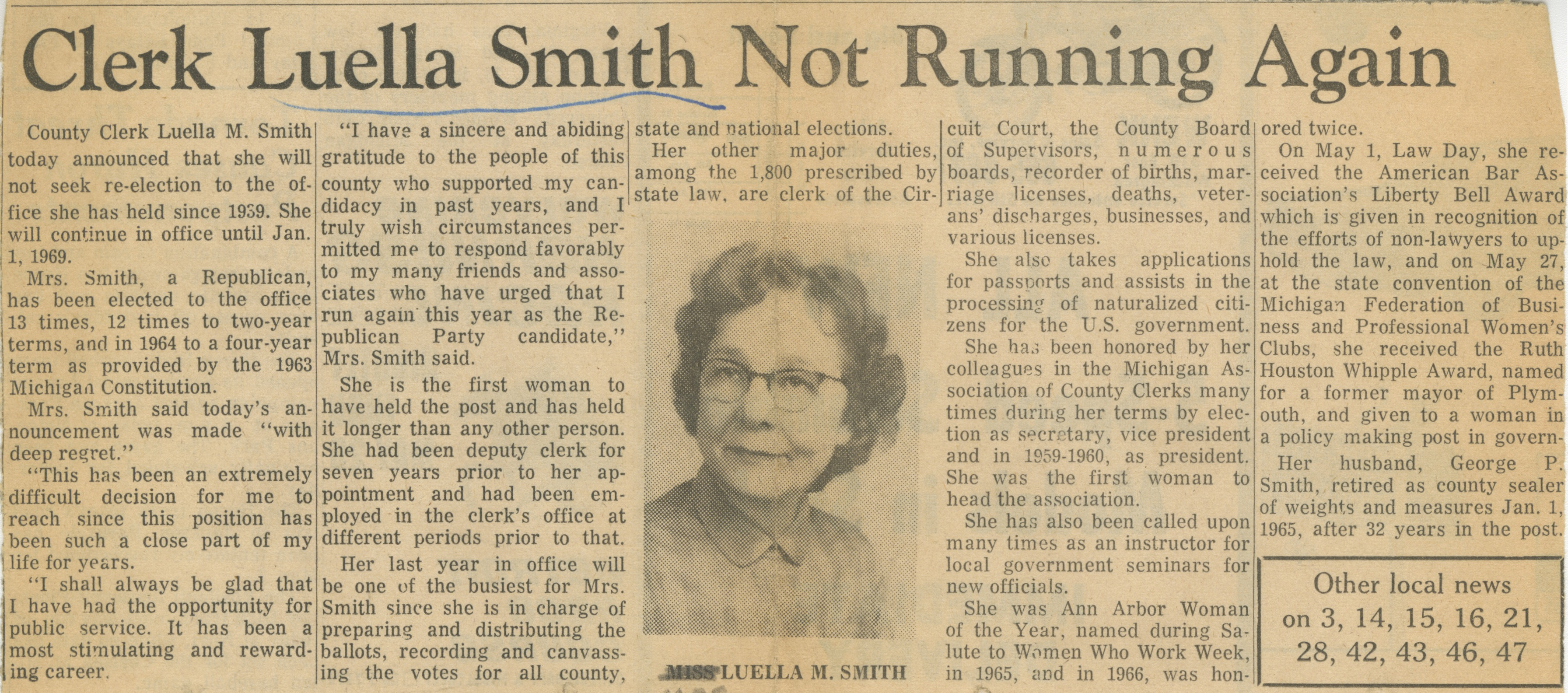 Clerk Luella Smith Not Running Again image