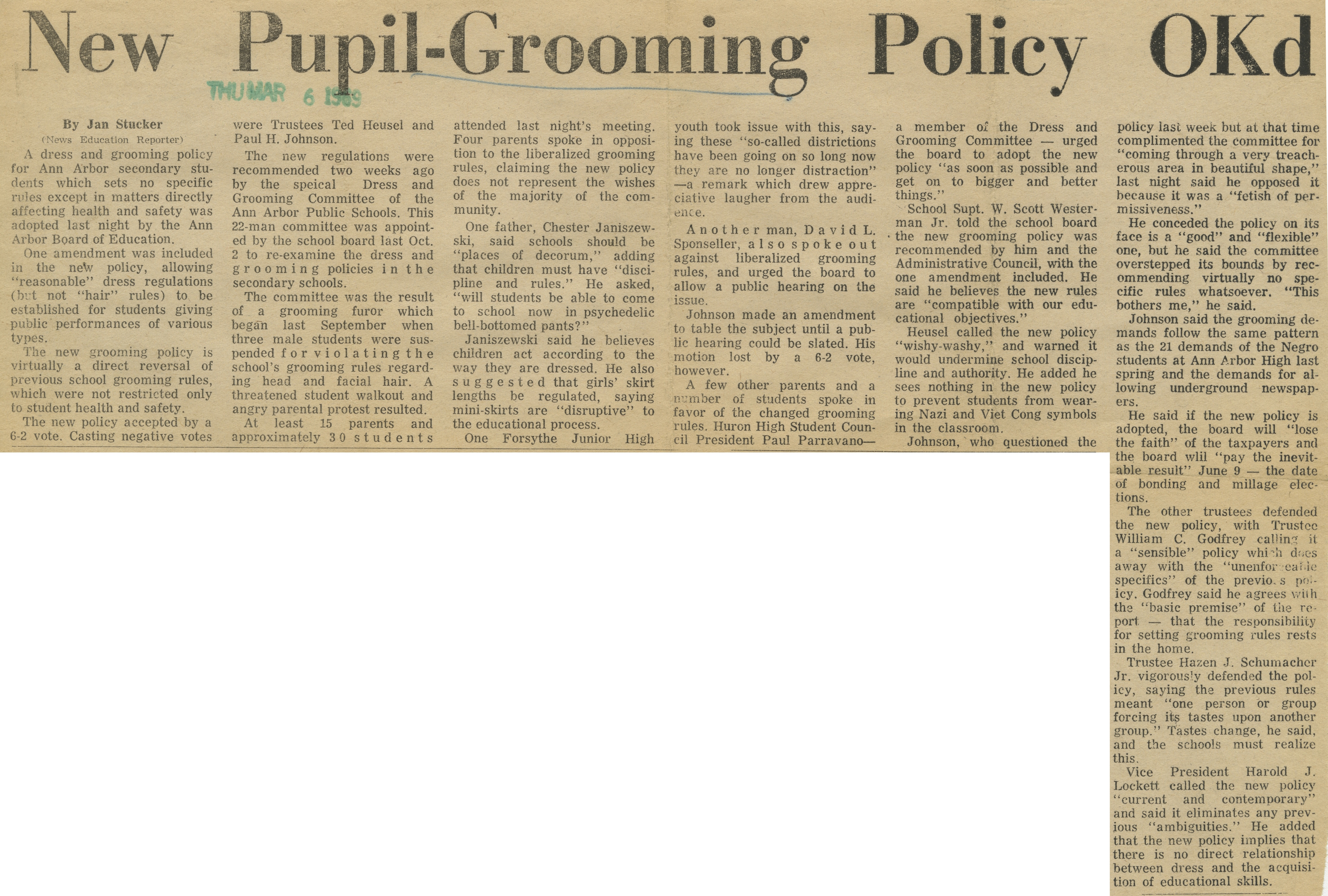 New Pupil-Grooming Policy OKd image