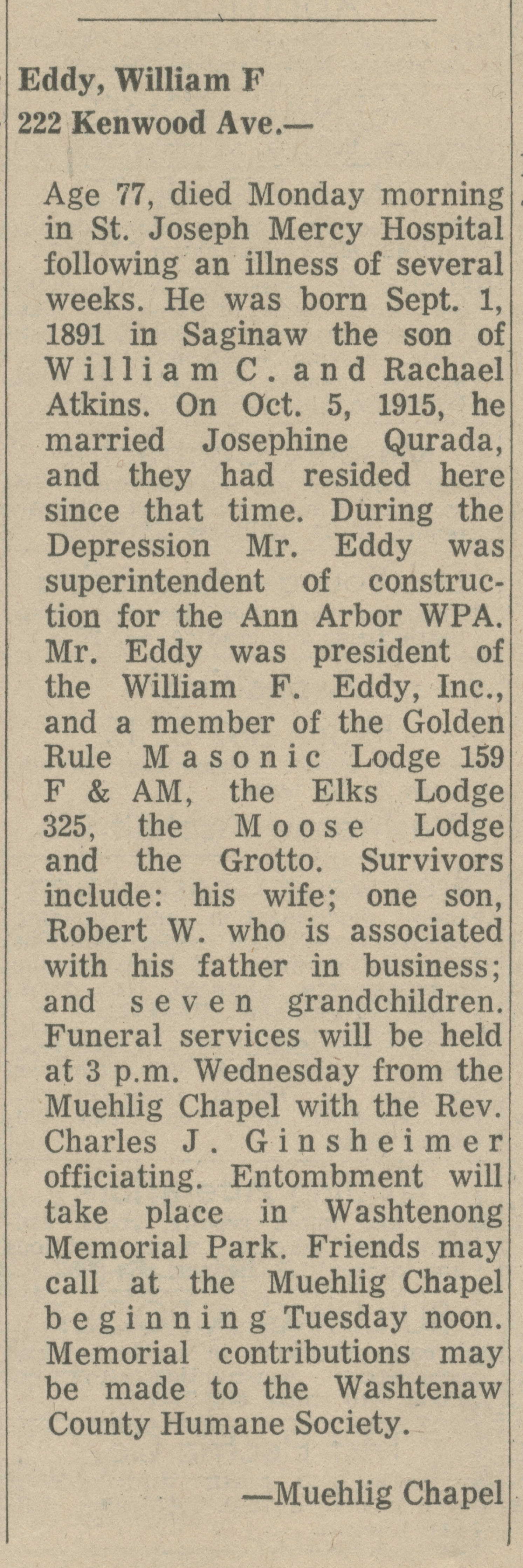 Eddy, William F. image