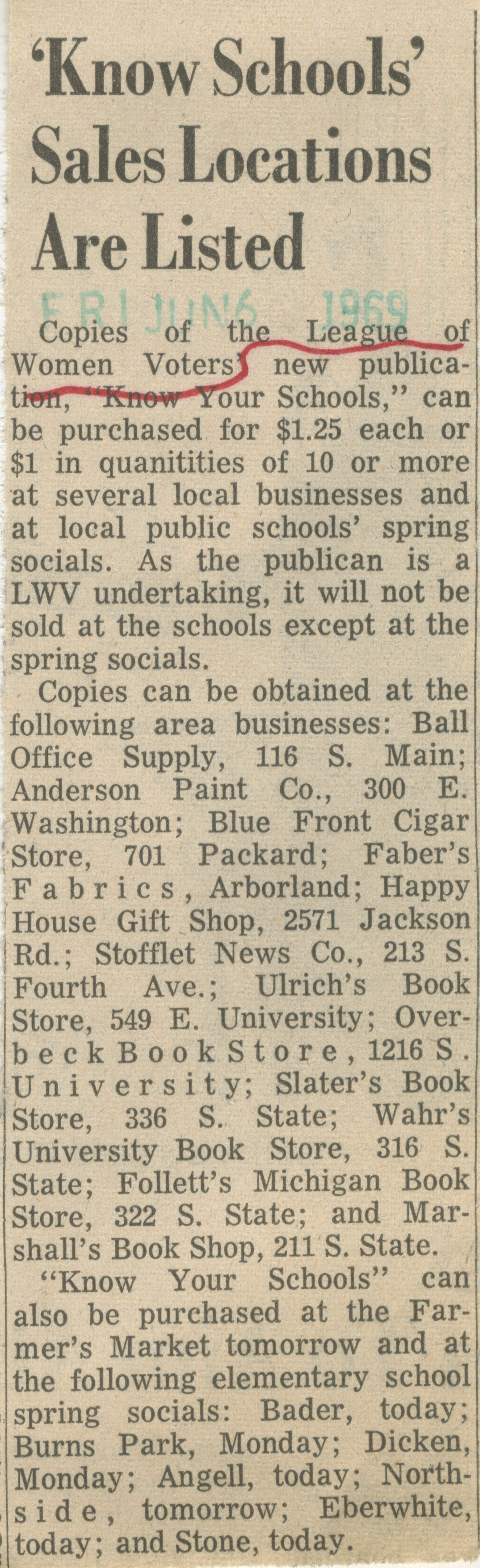 'Know Schools' Sales Locations Are Listed image